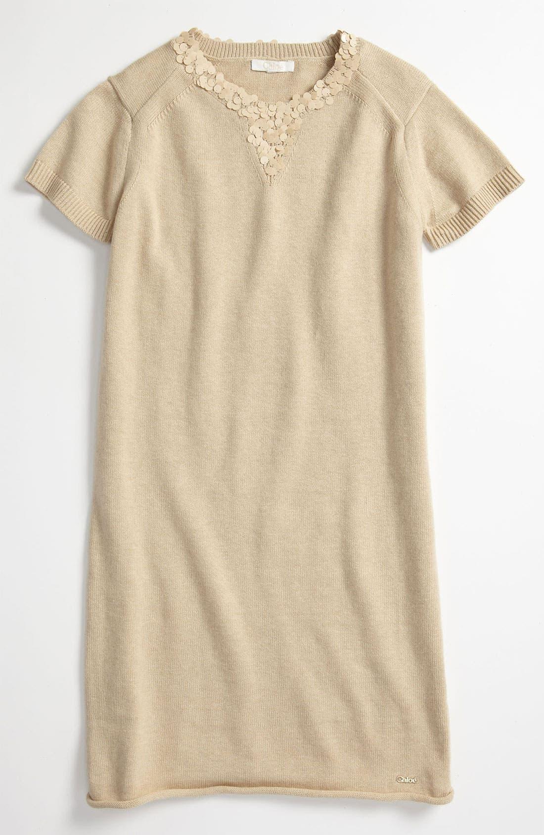 Alternate Image 1 Selected - Chloé Paillette Sweater Dress (Little Girls & Big Girls)