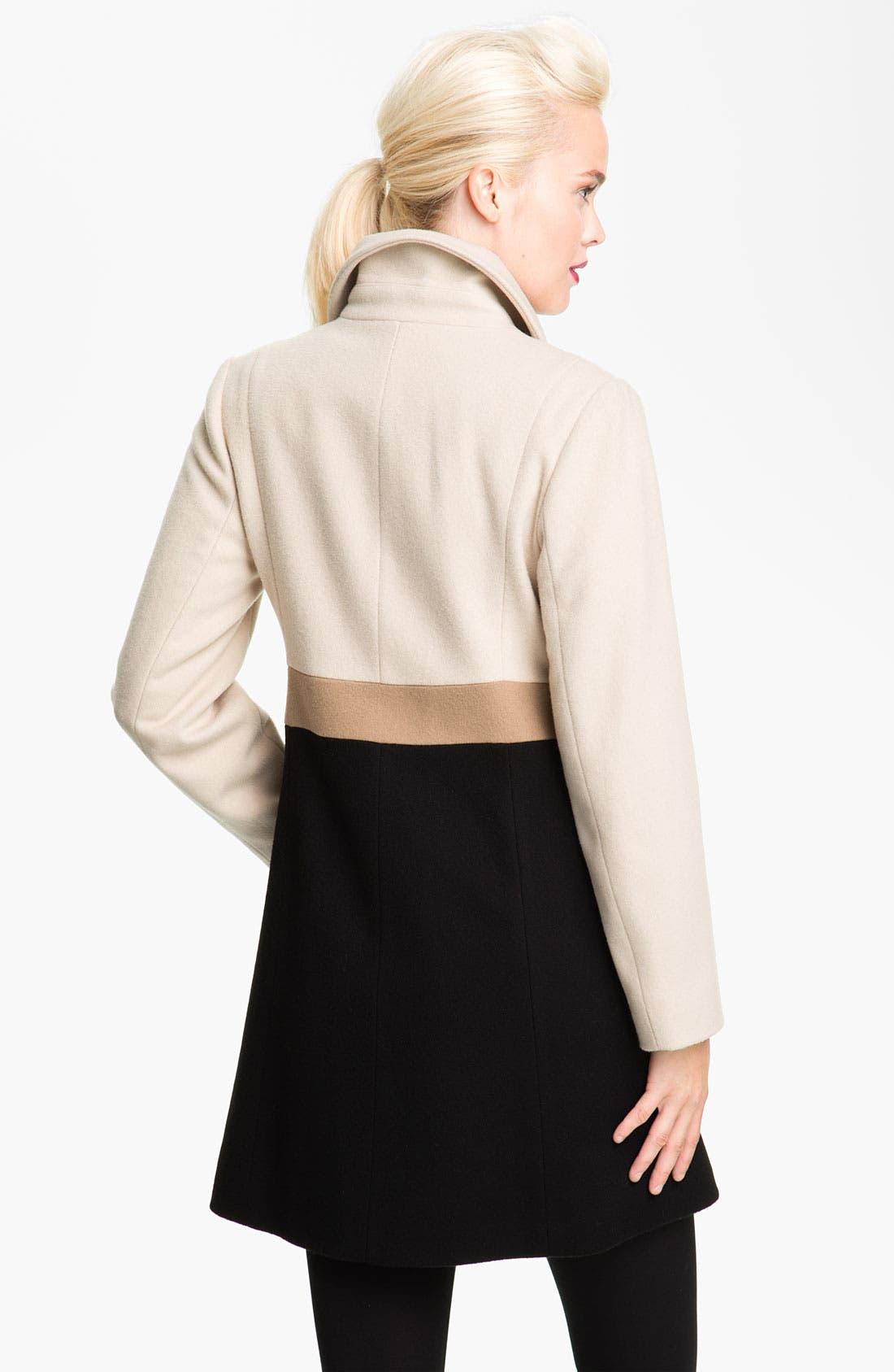 Alternate Image 2  - Fleurette Colorblock Wool Walking Coat (Petite)