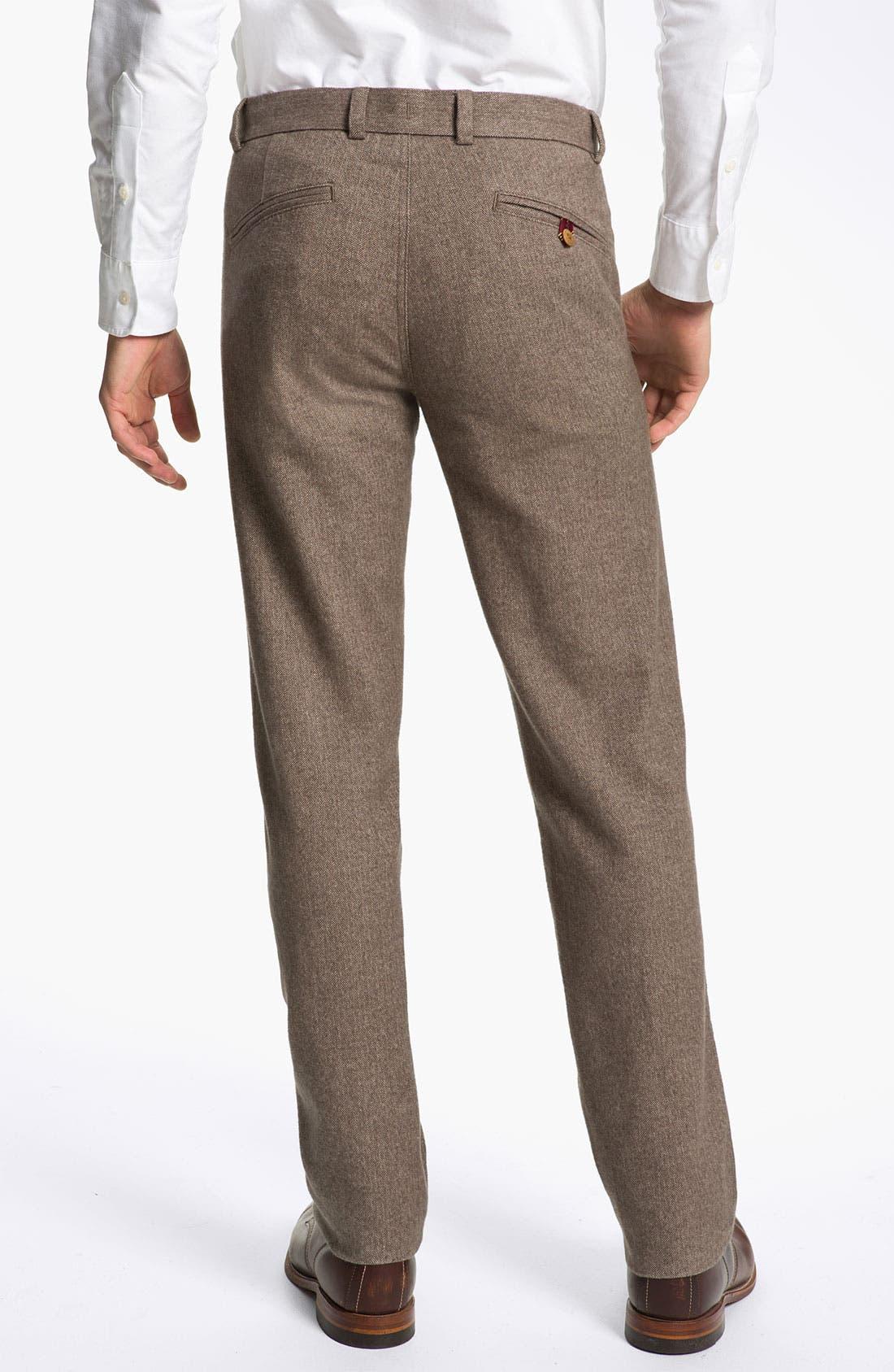 Alternate Image 2  - Brooks Brothers Flat Front Herringbone Pants