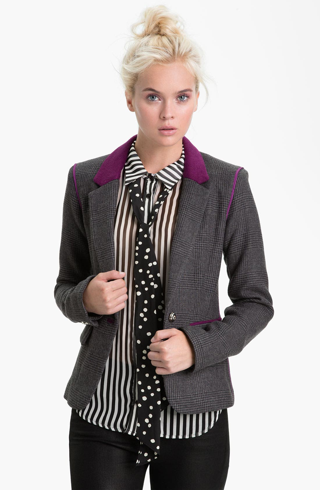 Alternate Image 1 Selected - Juicy Couture Contrast Trim Plaid Blazer