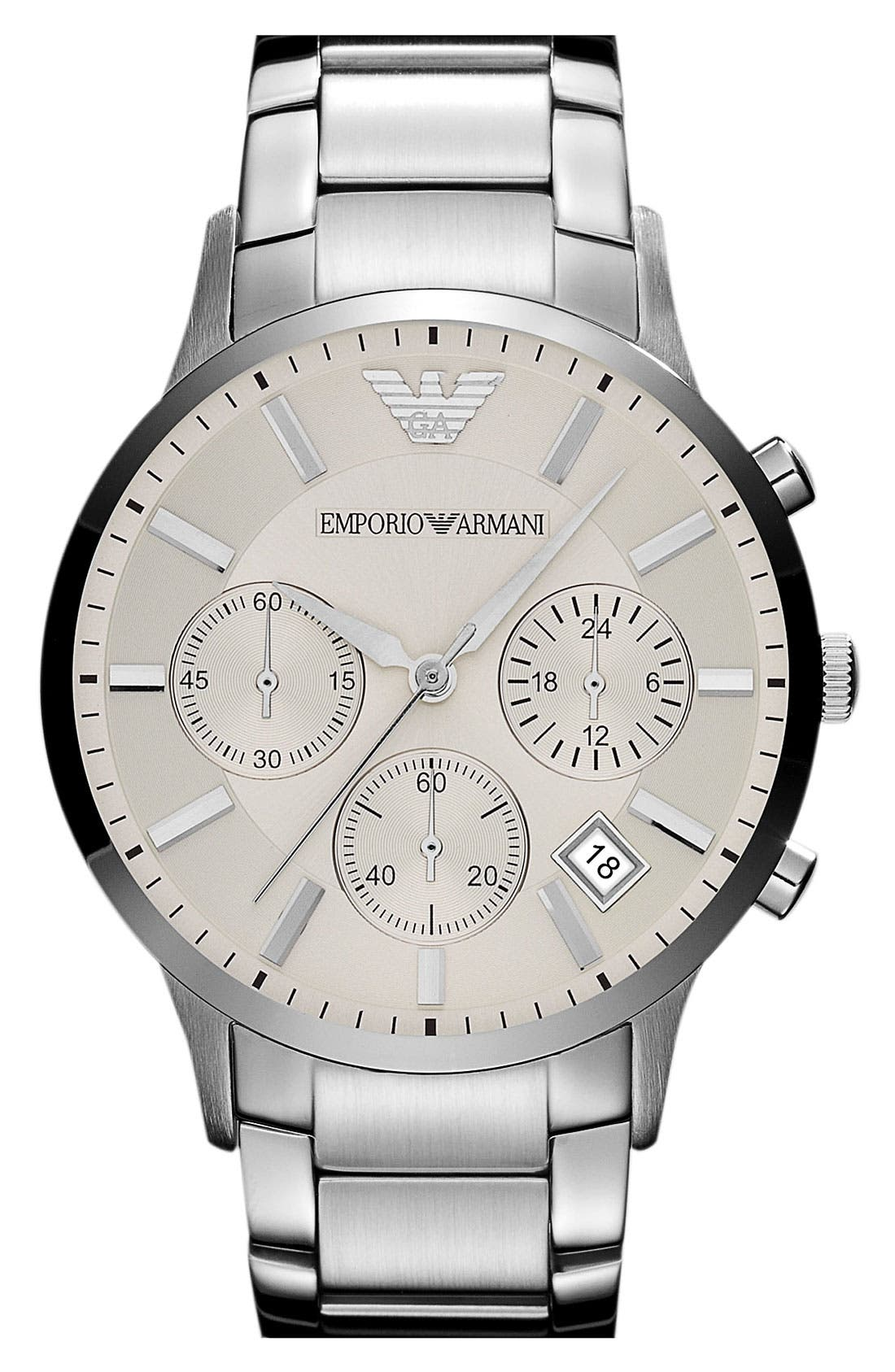 Main Image - Emporio Armani Stainless Steel Bracelet Watch, 43mm