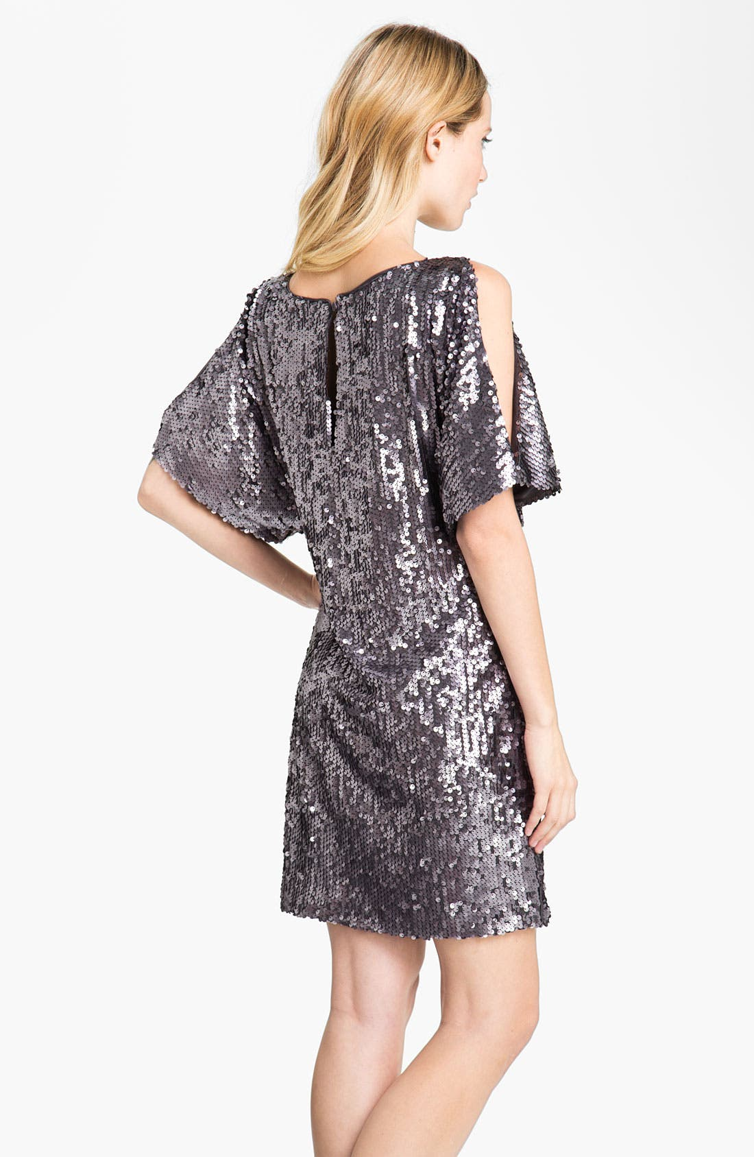 Alternate Image 2  - Aidan Mattox Sequin Cold Shoulder Shift Dress