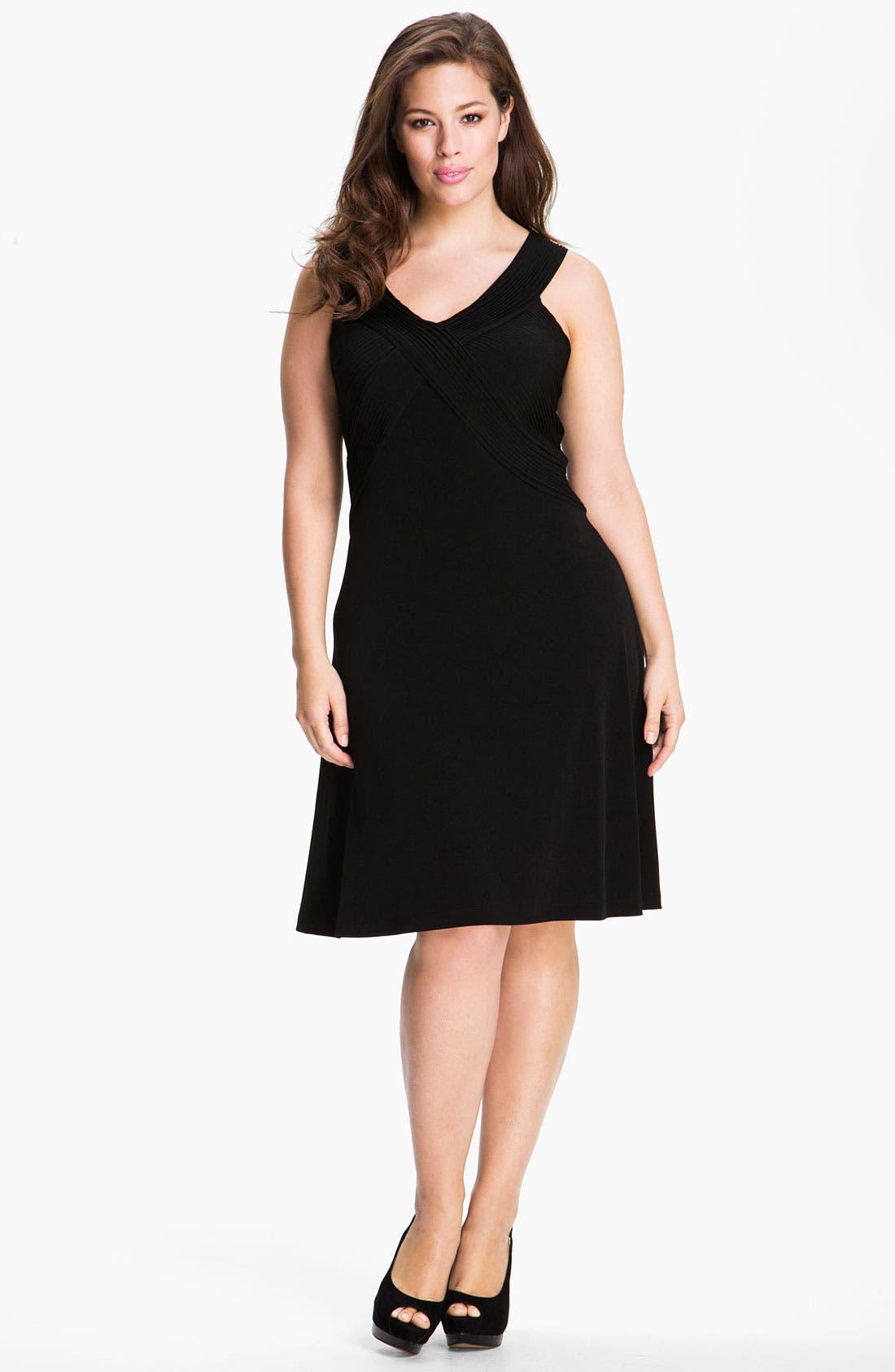 Alternate Image 1 Selected - Calvin Klein Crisscross Sleeveless Knit Dress (Plus)