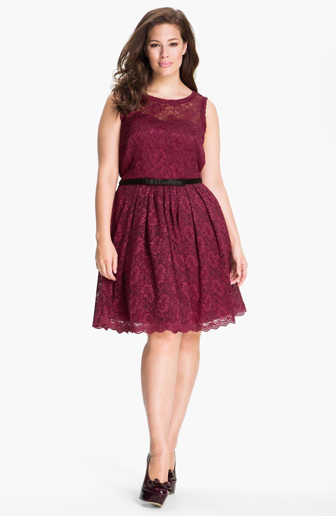 Alternate Image 1  - Taylor Dresses Sleeveless Lace Dress (Plus)