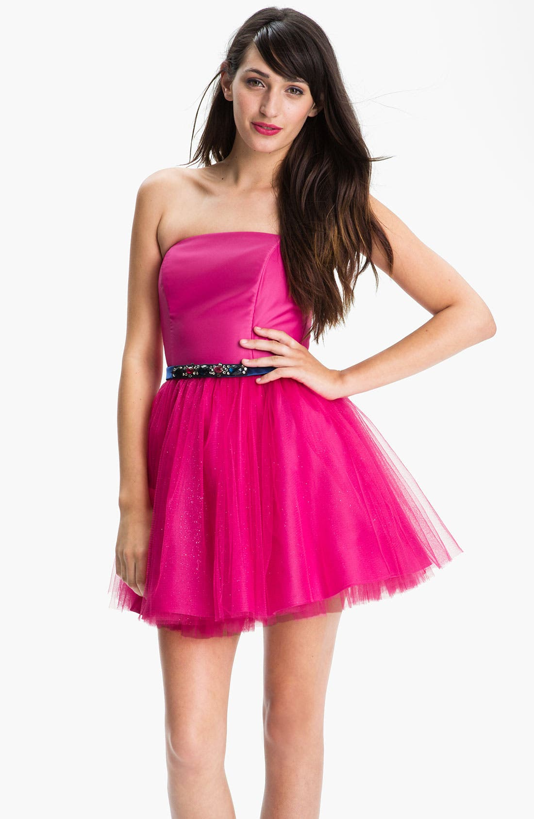 Alternate Image 1  - Jessica McClintock Strapless Tulle Fit & Flare Dress