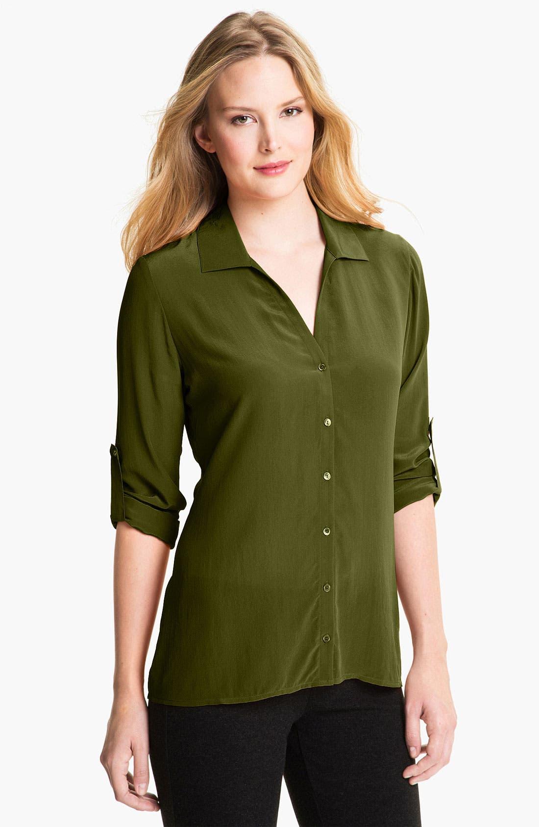 Alternate Image 1 Selected - Eileen Fisher Crêpe de Chine Silk Shirt