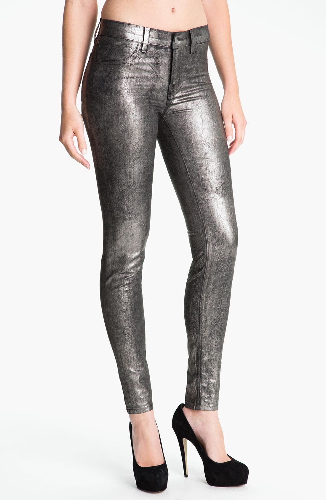 Main Image - J Brand Metallic Stretch Denim Leggings