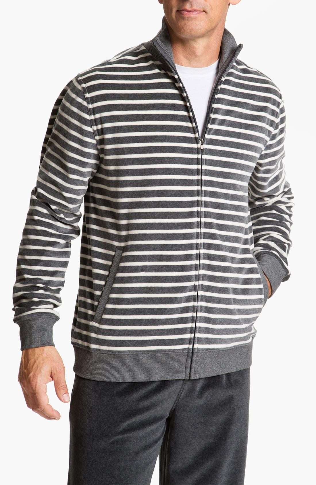 Alternate Image 1 Selected - Daniel Buchler Yarn-Dyed Stripe Velour Track Jacket