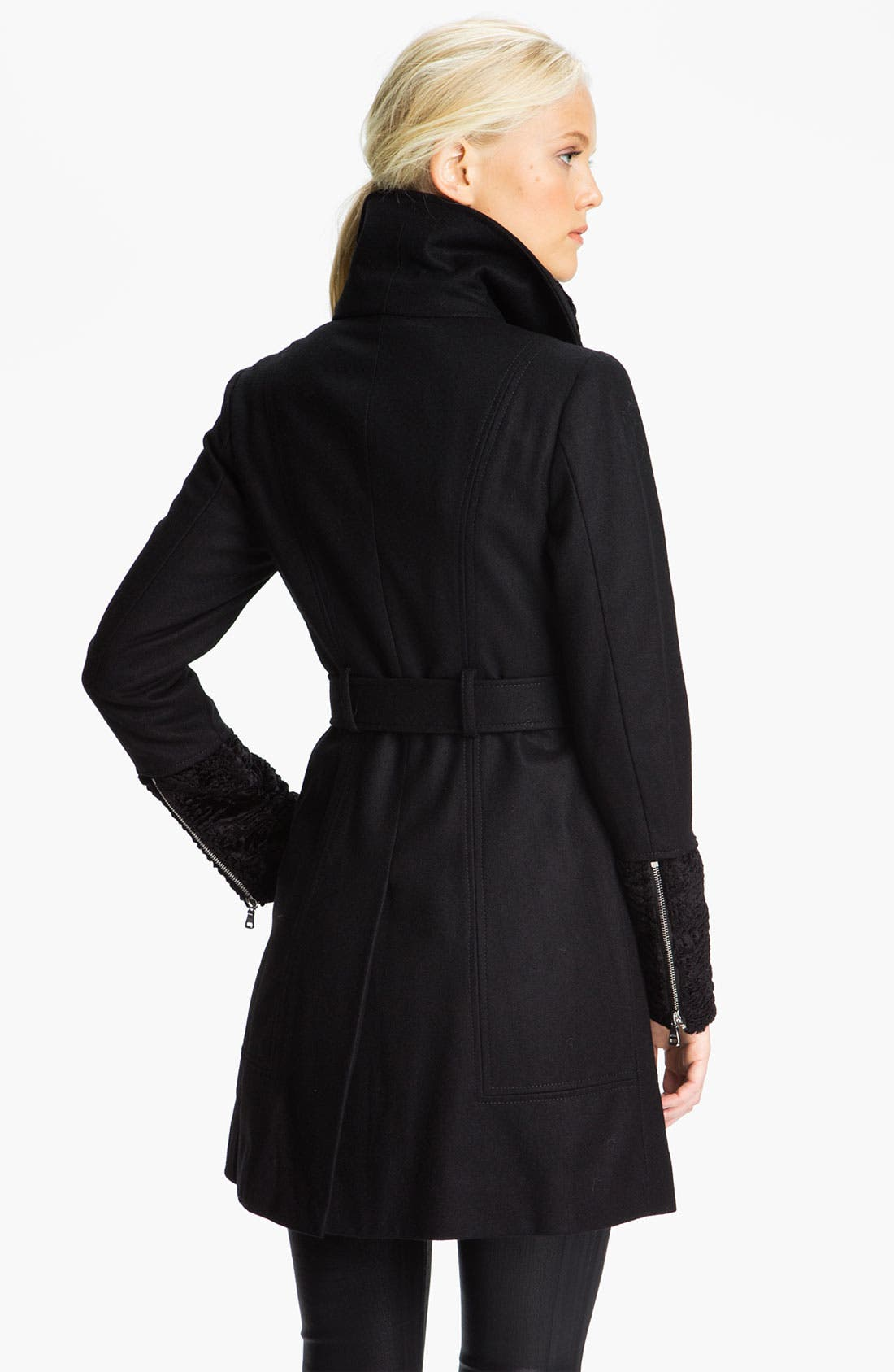Alternate Image 2  - GUESS Asymmetrical Zip Coat with Faux Fur Trim (Online Exclusive)