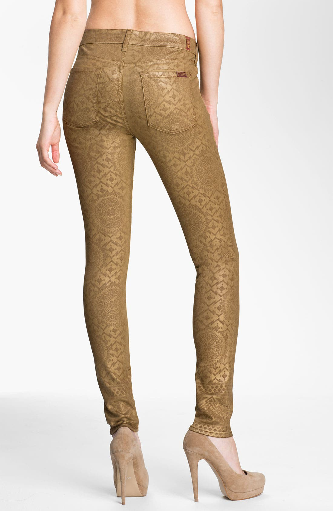 Alternate Image 2  - 7 For All Mankind® Coated Print Skinny Jeans (Gold Artisan)