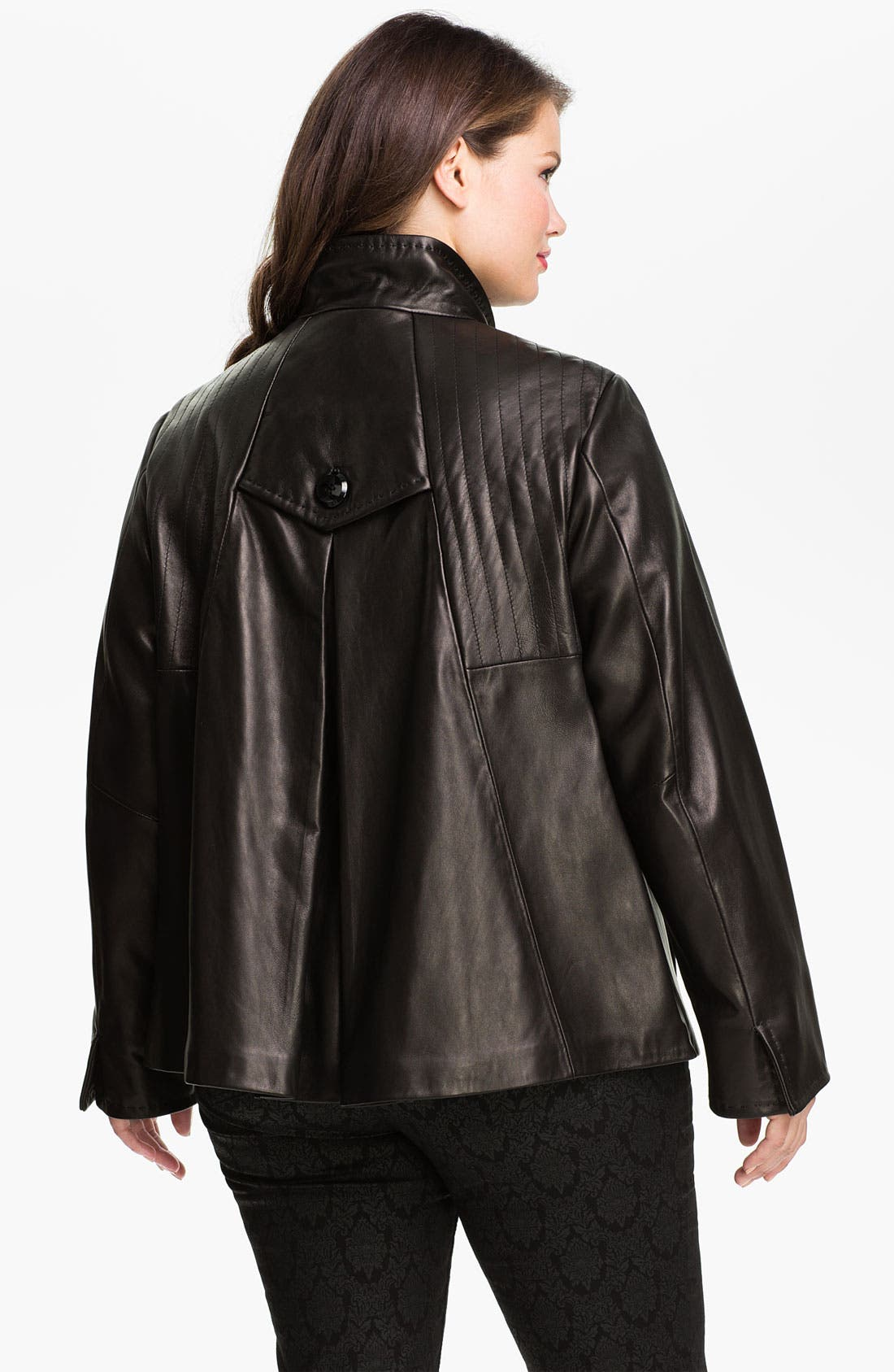Alternate Image 2  - Ellen Tracy Button Up Leather Jacket (Plus) (Nordstrom Exclusive)
