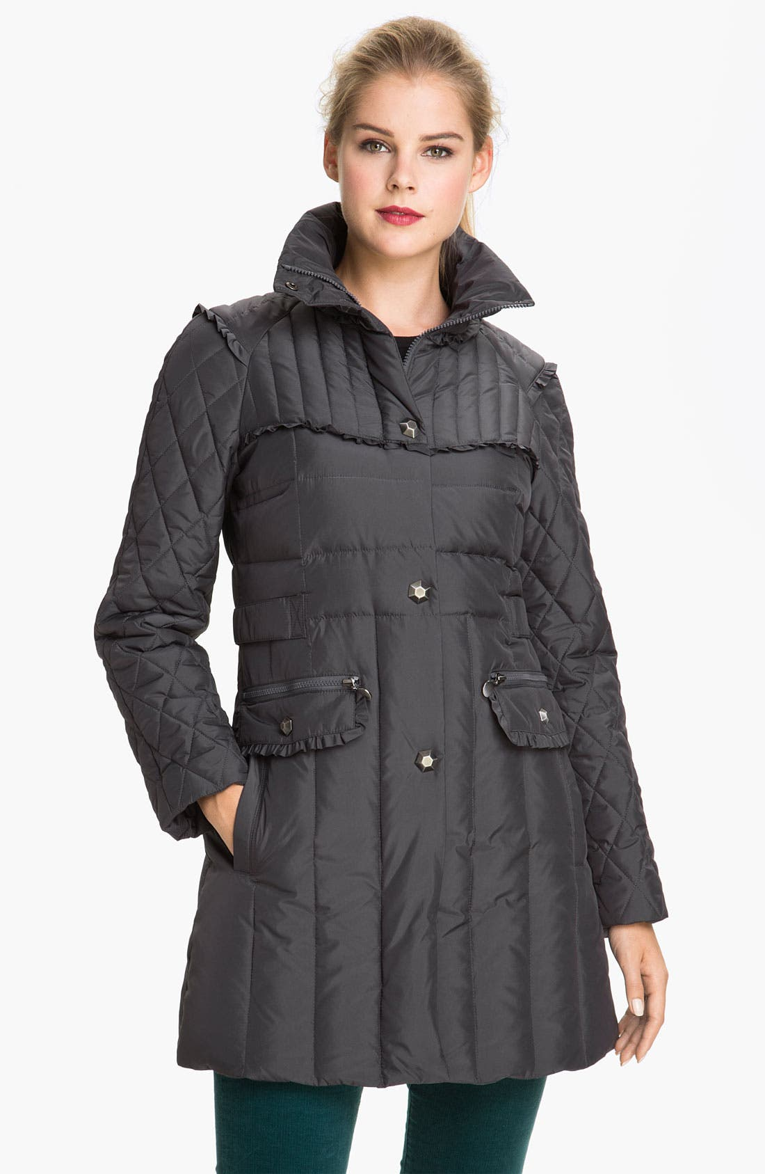 Main Image - Betsey Johnson Stand Collar Quilted Walking Coat