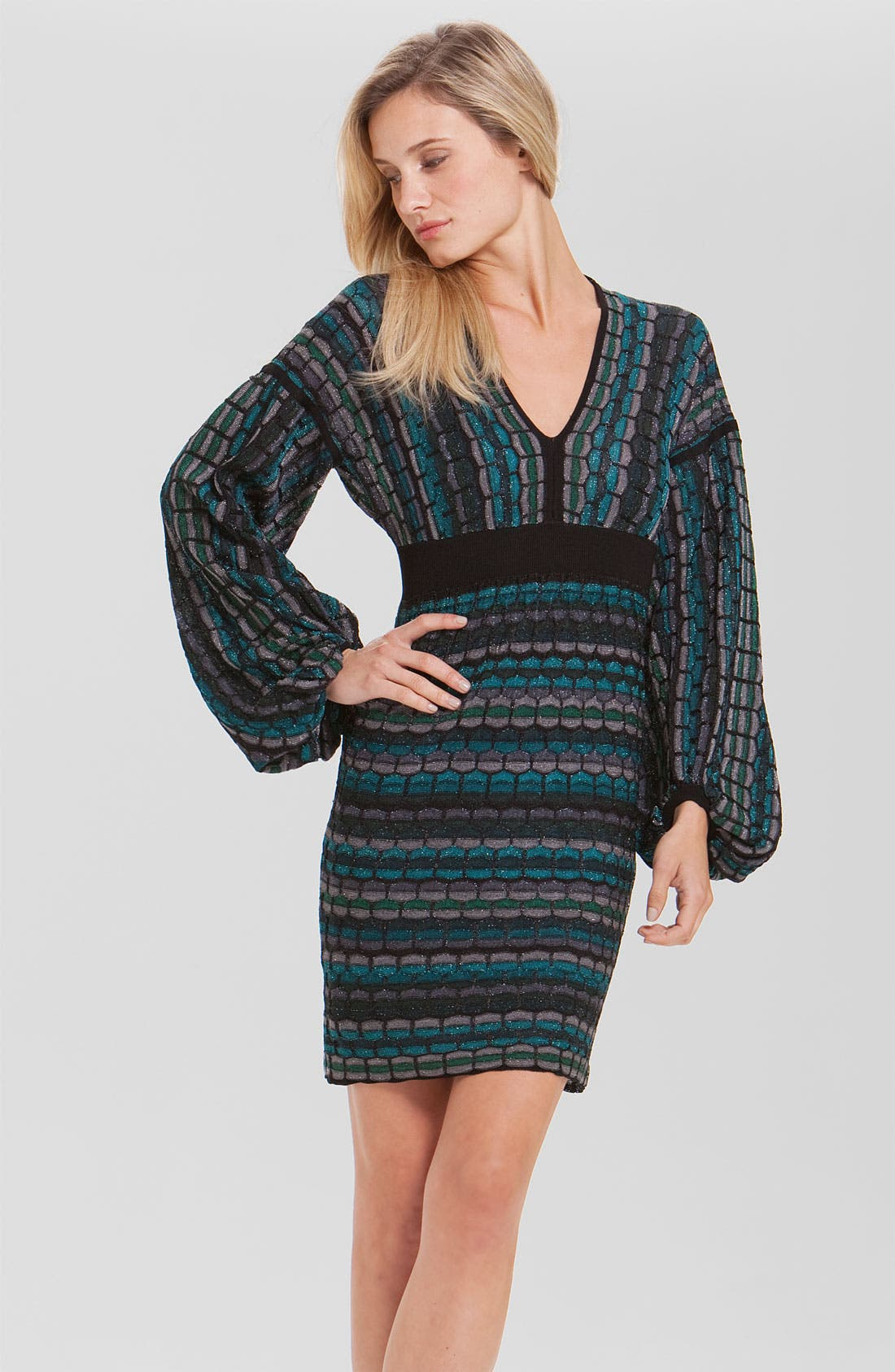 Main Image - Laundry by Shelli Segal Bishop Sleeve Metallic Sweater Dress