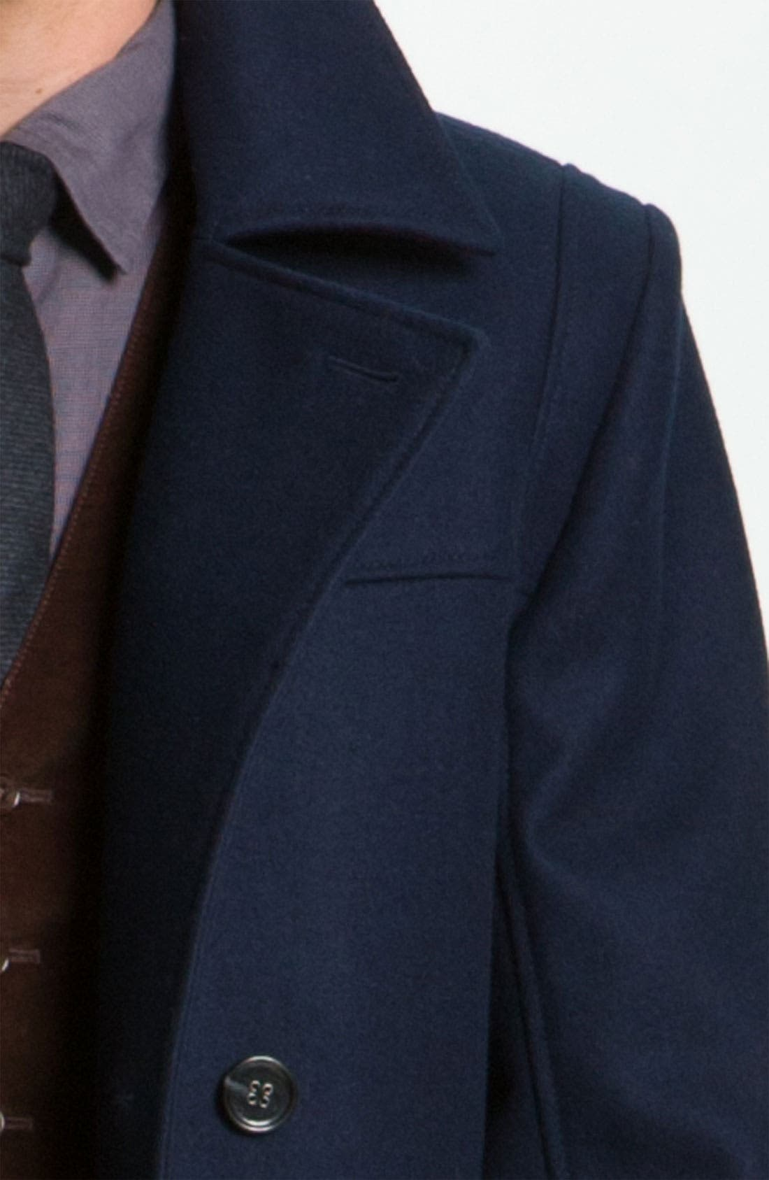 Alternate Image 3  - HUGO 'Brano' Double Breasted Wool Blend Peacoat