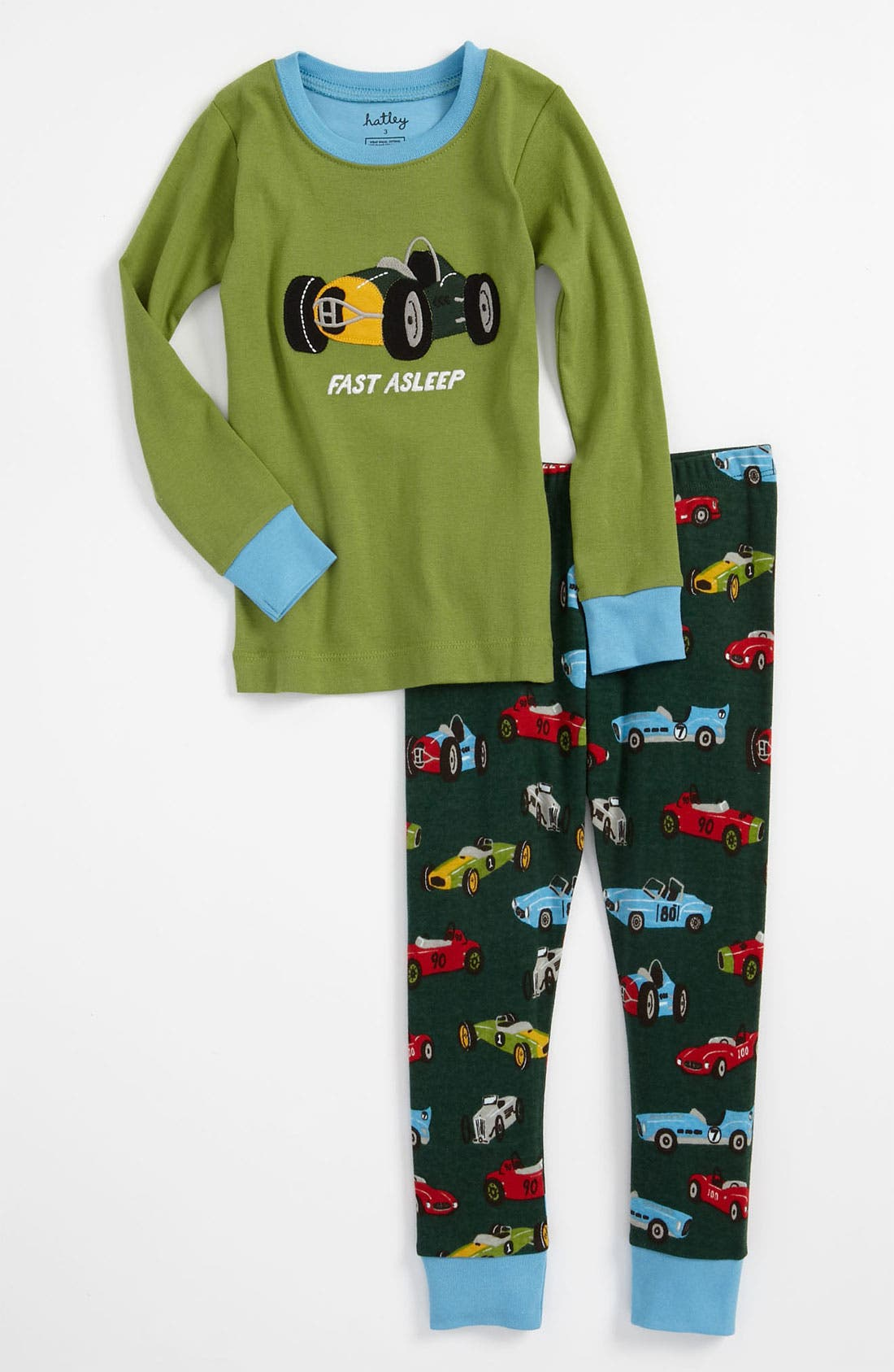 Main Image - Hatley 'Vintage Cars' Fitted Two Piece Pajamas (Toddler)