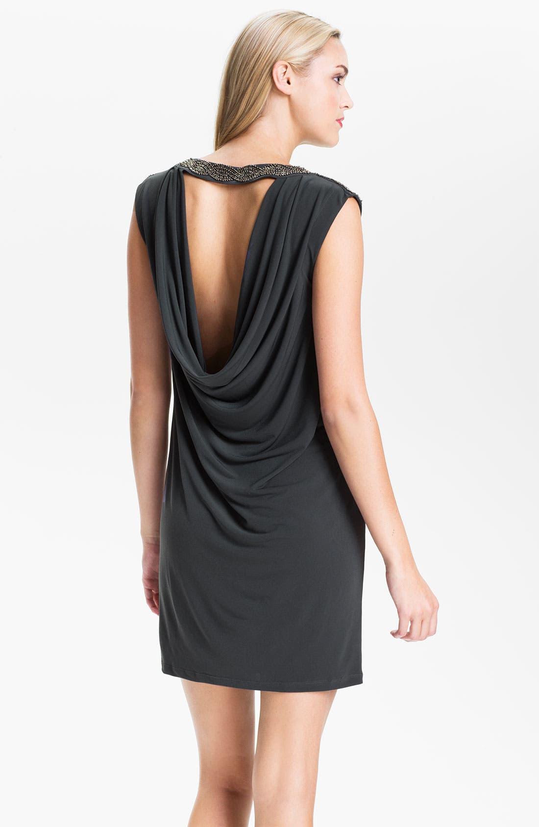Alternate Image 2  - Calvin Klein Draped Back Jersey Shift Dress