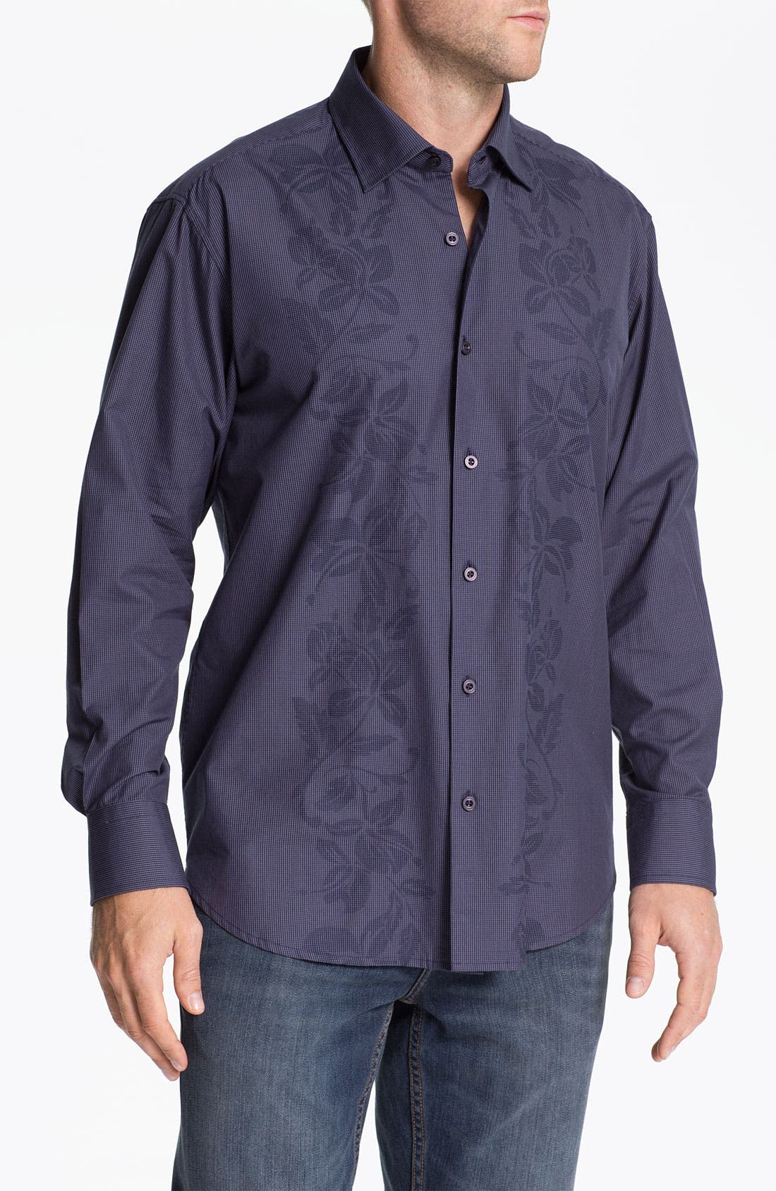 Main Image - Tommy Bahama 'Floral Dynasty' Cotton & Silk Sport Shirt