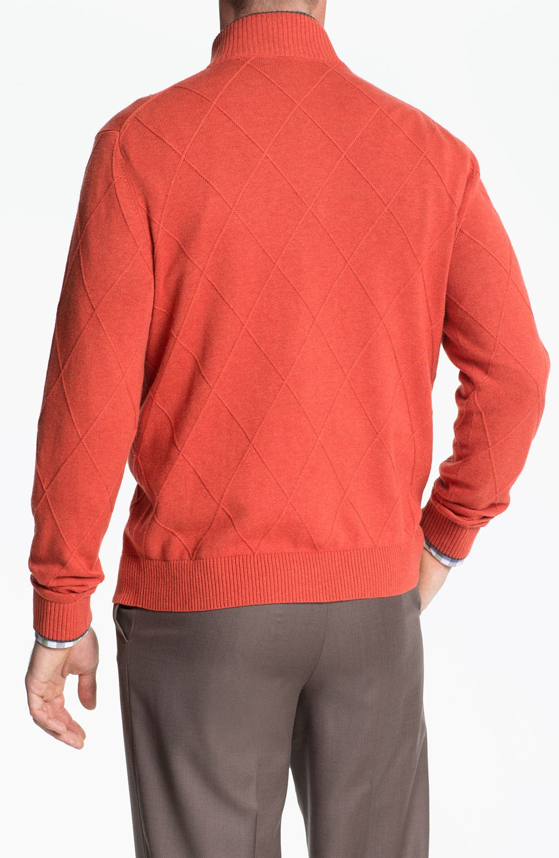 Alternate Image 2  - Robert Talbott Cotton & Cashmere Quarter Zip Sweater