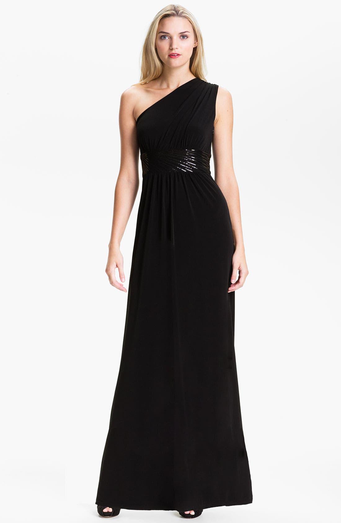 Main Image - Calvin Klein Sequin Waist One Shoulder Jersey Gown
