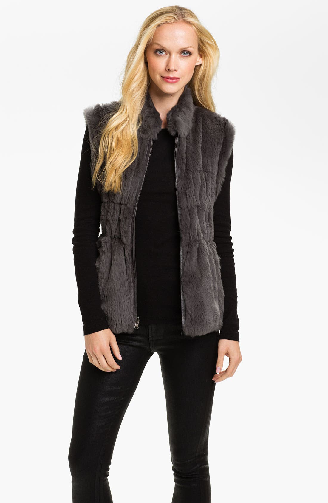 Alternate Image 1 Selected - Linda Richards Reversible Genuine Rabbit Fur Front Vest