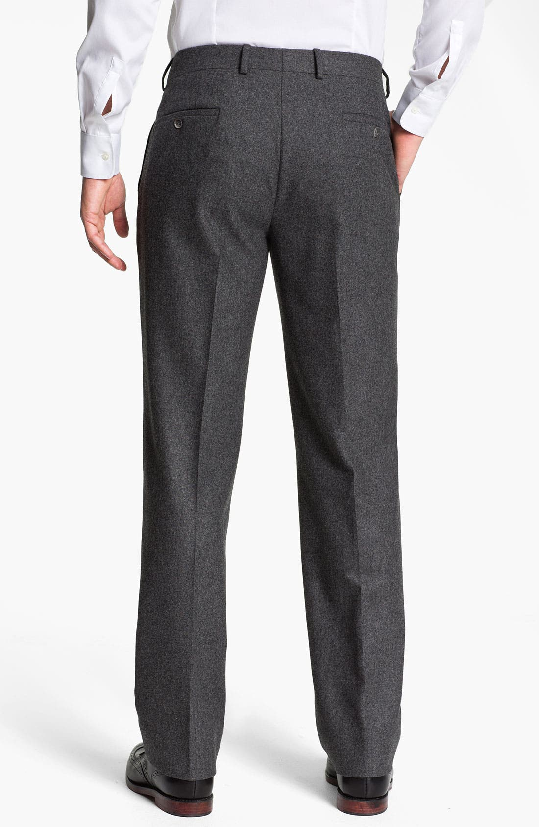 Alternate Image 2  - Robert Talbott Flat Front Wool Trousers