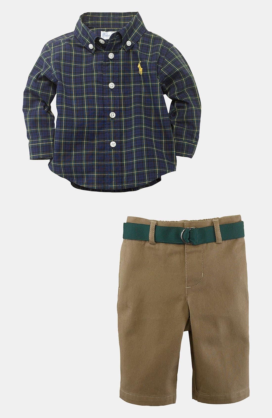 Alternate Image 2  - Ralph Lauren Shirt & Pants (Infant)