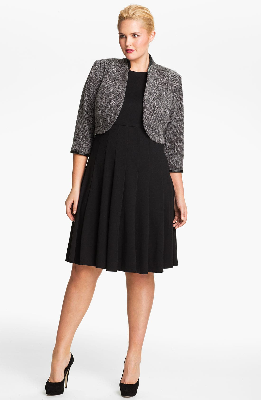 Alternate Image 1 Selected - Eliza J Pleated Dress & Bolero Jacket (Plus)