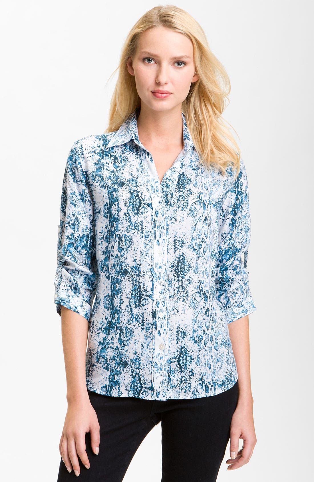 Alternate Image 1 Selected - Foxcroft Python Print Shirt (Petite)