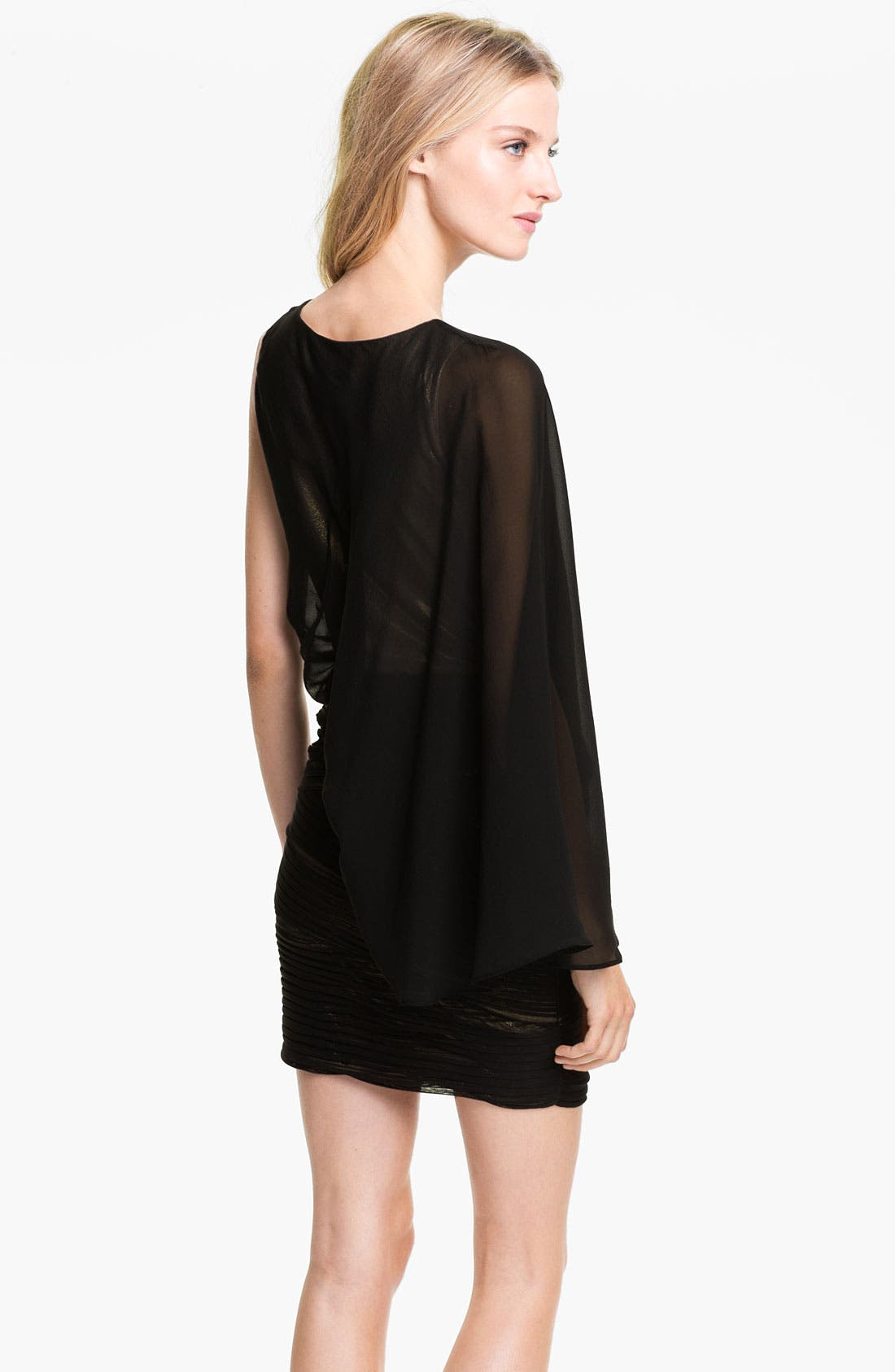 Alternate Image 2  - BCBGMAXAZRIA One Shoulder Metallic Jersey & Chiffon Dress