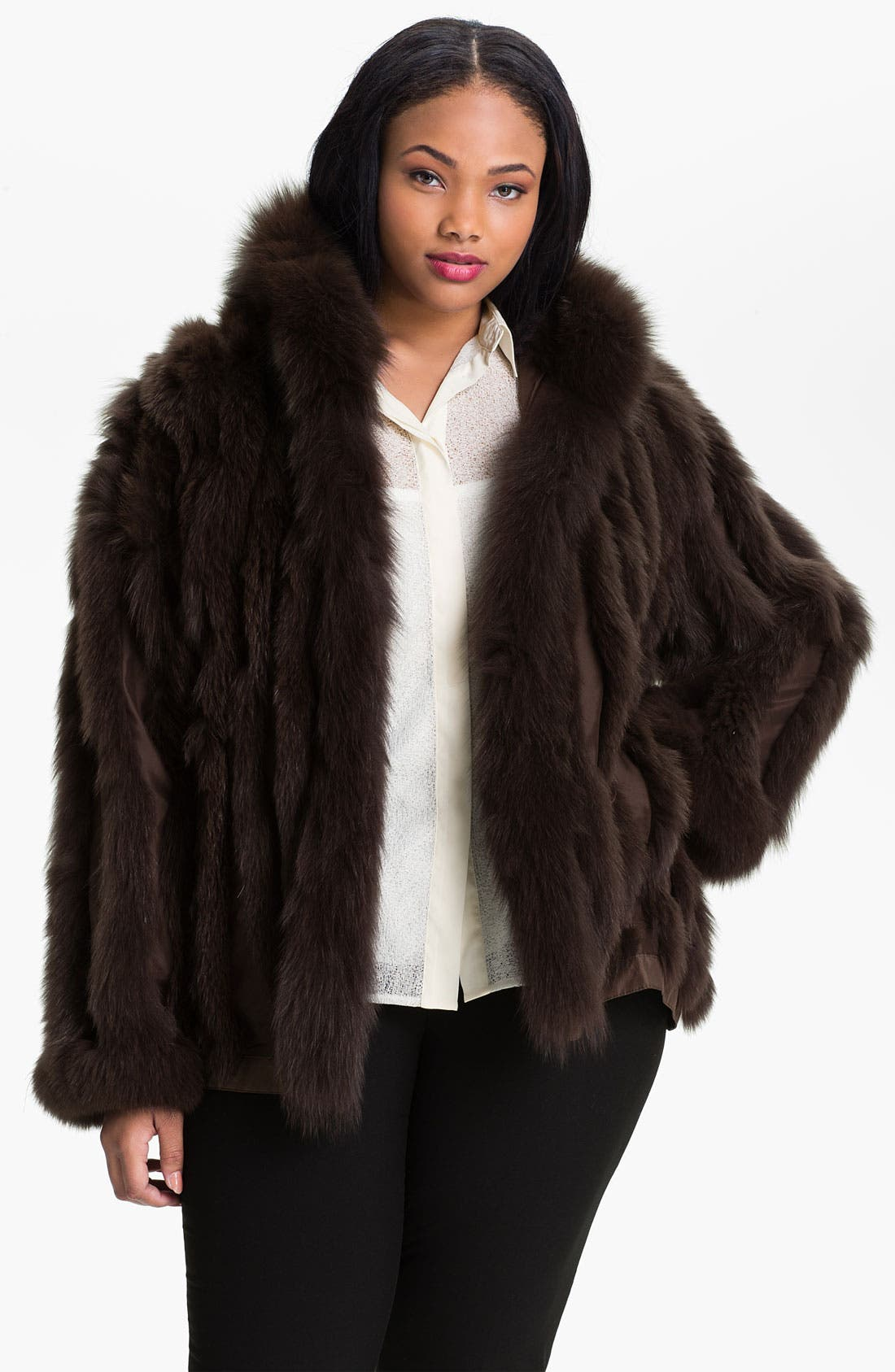 Main Image - George Simonton Couture Reversible Genuine Fox Fur & Silk Coat (Plus)