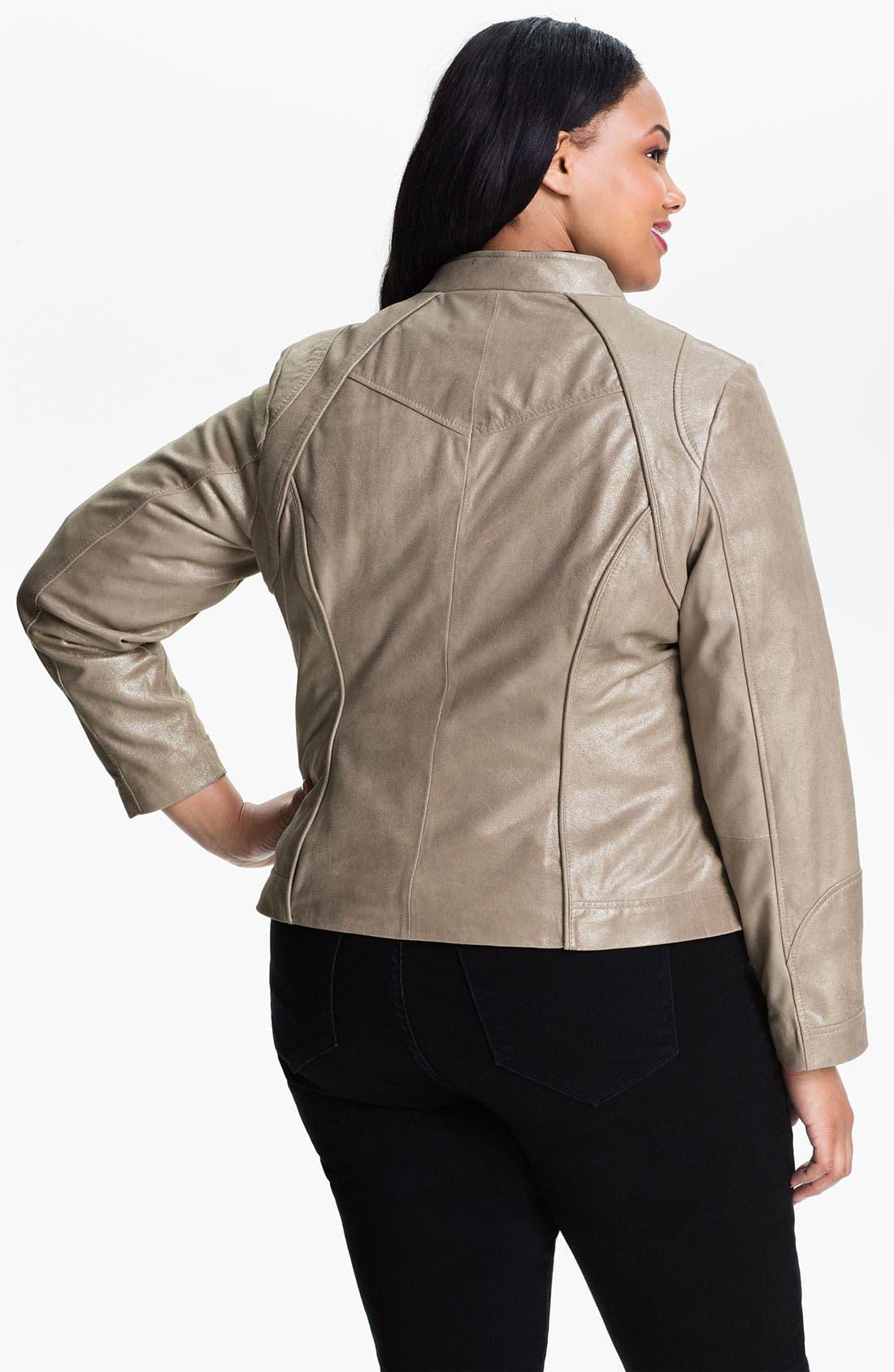 Alternate Image 2  - Bernardo Metallic Leather Jacket (Plus)