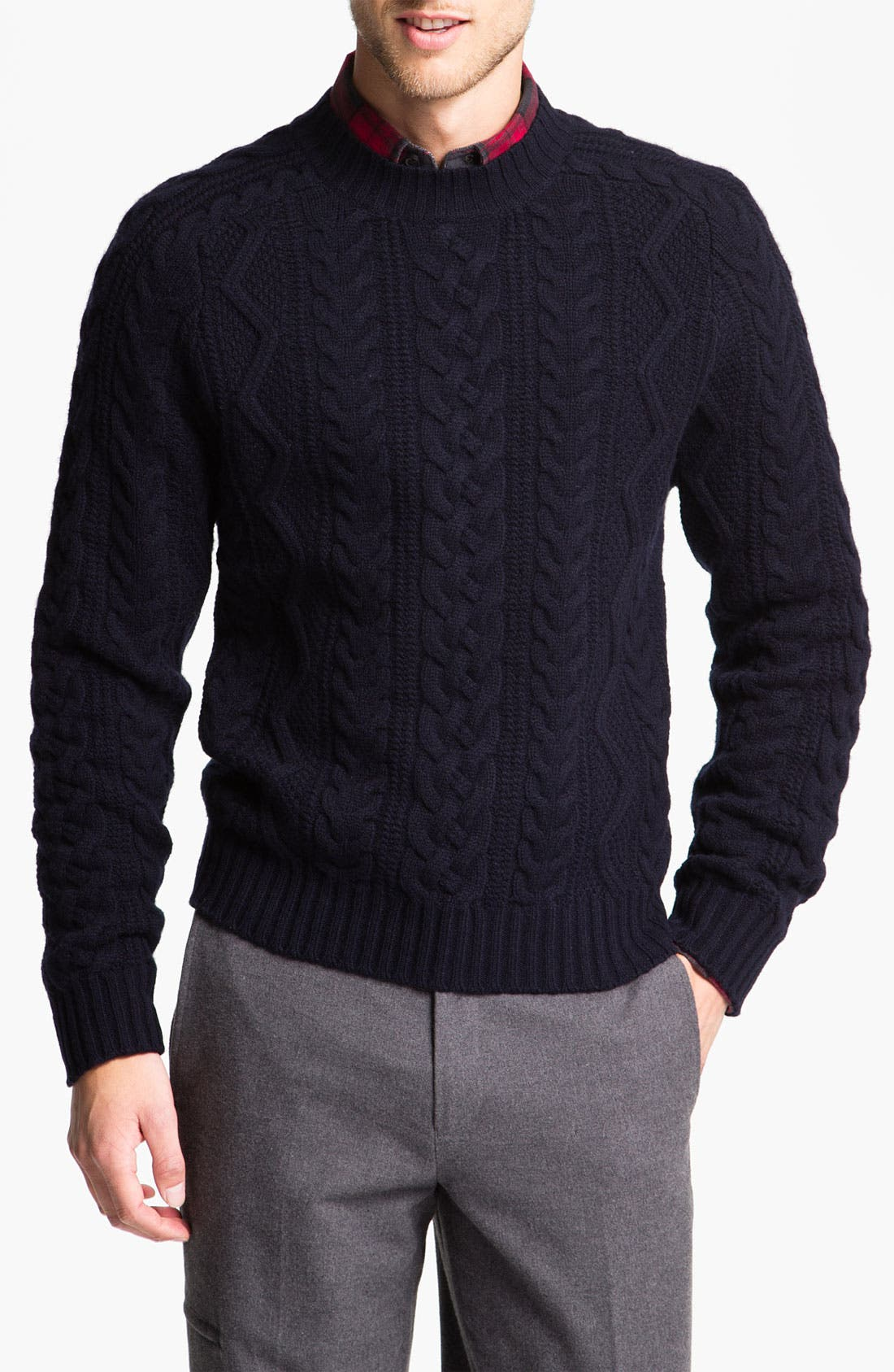 Alternate Image 1 Selected - Brooks Brothers 'Fisherman' Crewneck Sweater