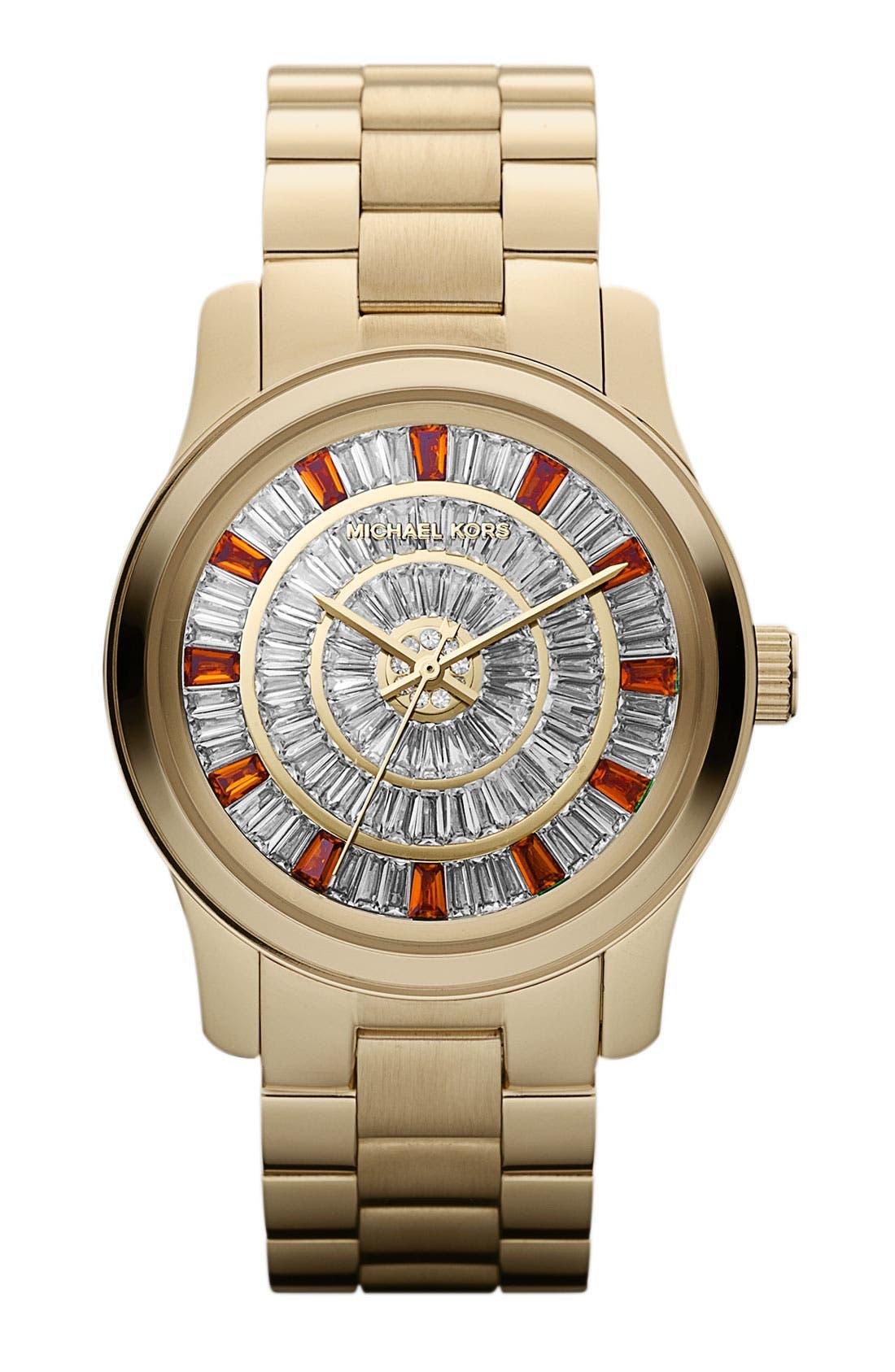 Alternate Image 1 Selected - Michael Kors 'Runway' Crystal Dial Bracelet Watch