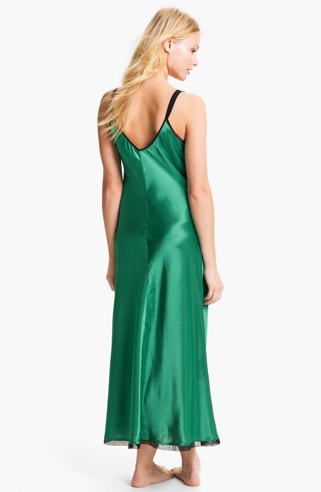 Alternate Image 2  - Oscar de la Renta Sleepwear Lace Trim Charmeuse Nightgown
