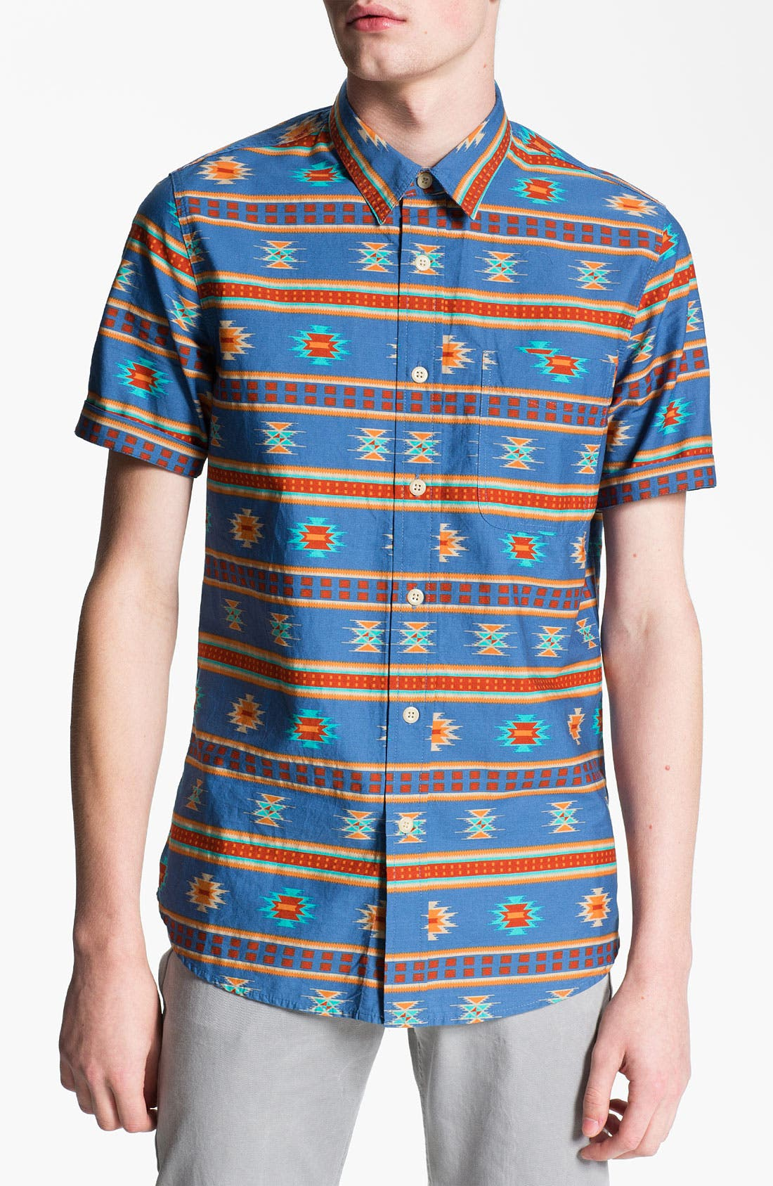 Alternate Image 1 Selected - Topman Short Sleeve Print Shirt