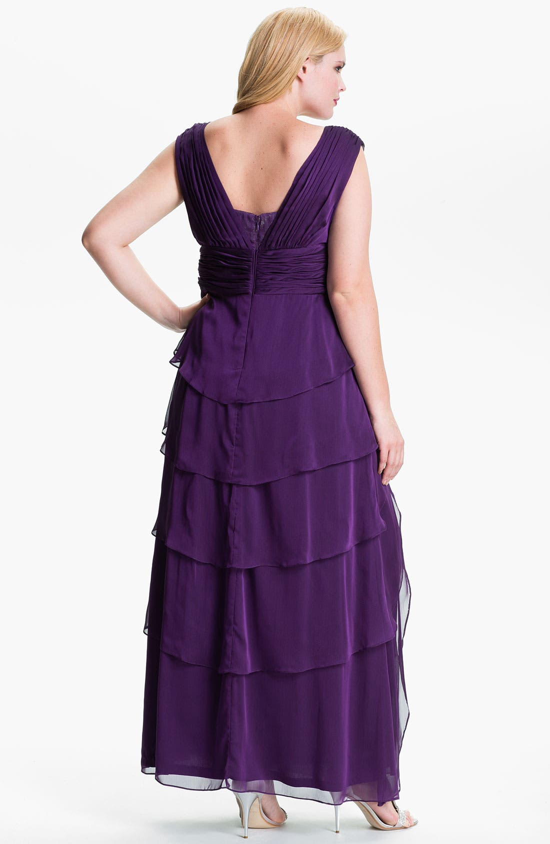 Alternate Image 2  - Adrianna Papell Chiffon Petal Gown (Plus)