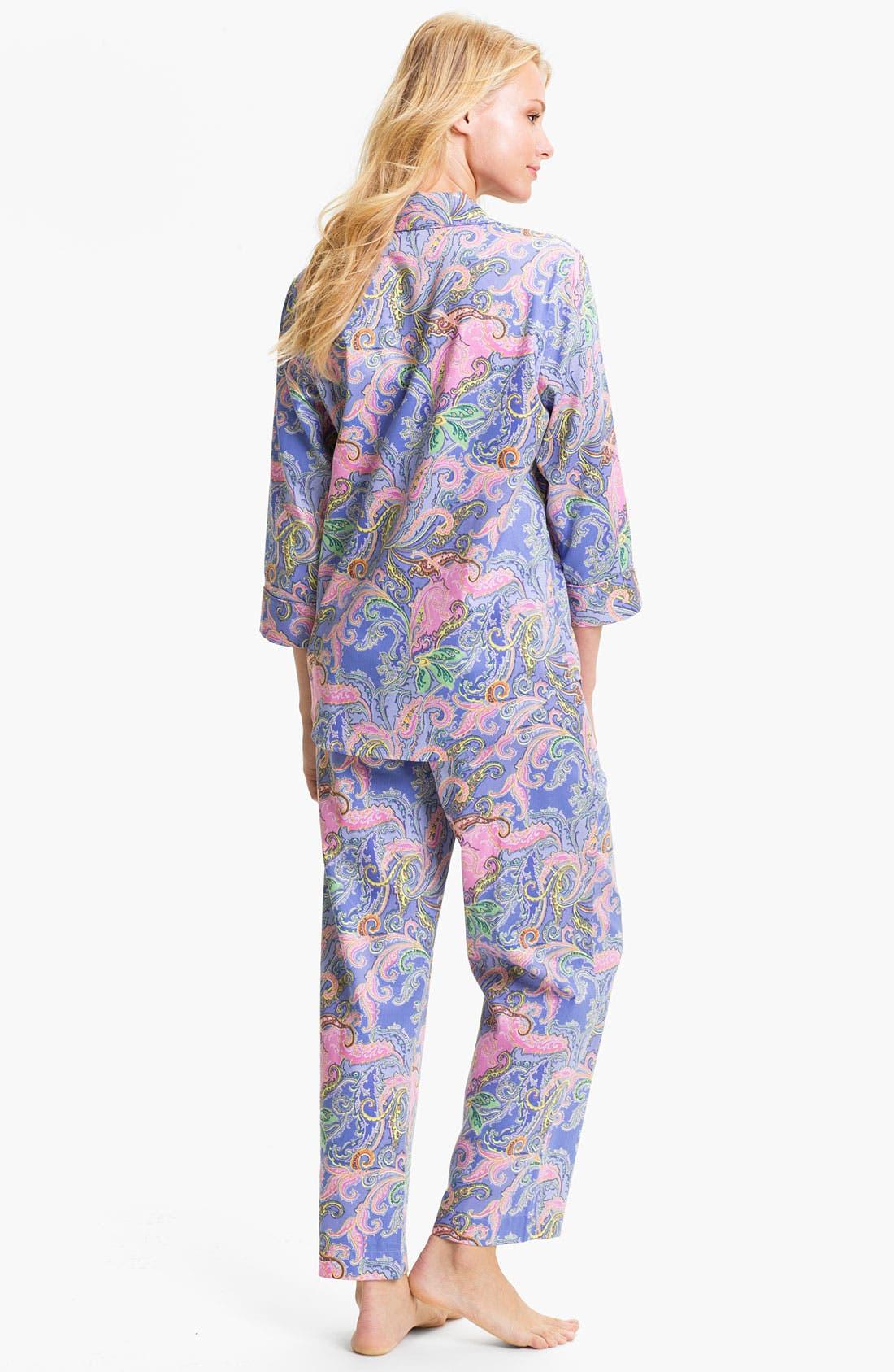 Alternate Image 2  - Lauren Ralph Lauren Sleepwear Paisley Sateen Pajamas