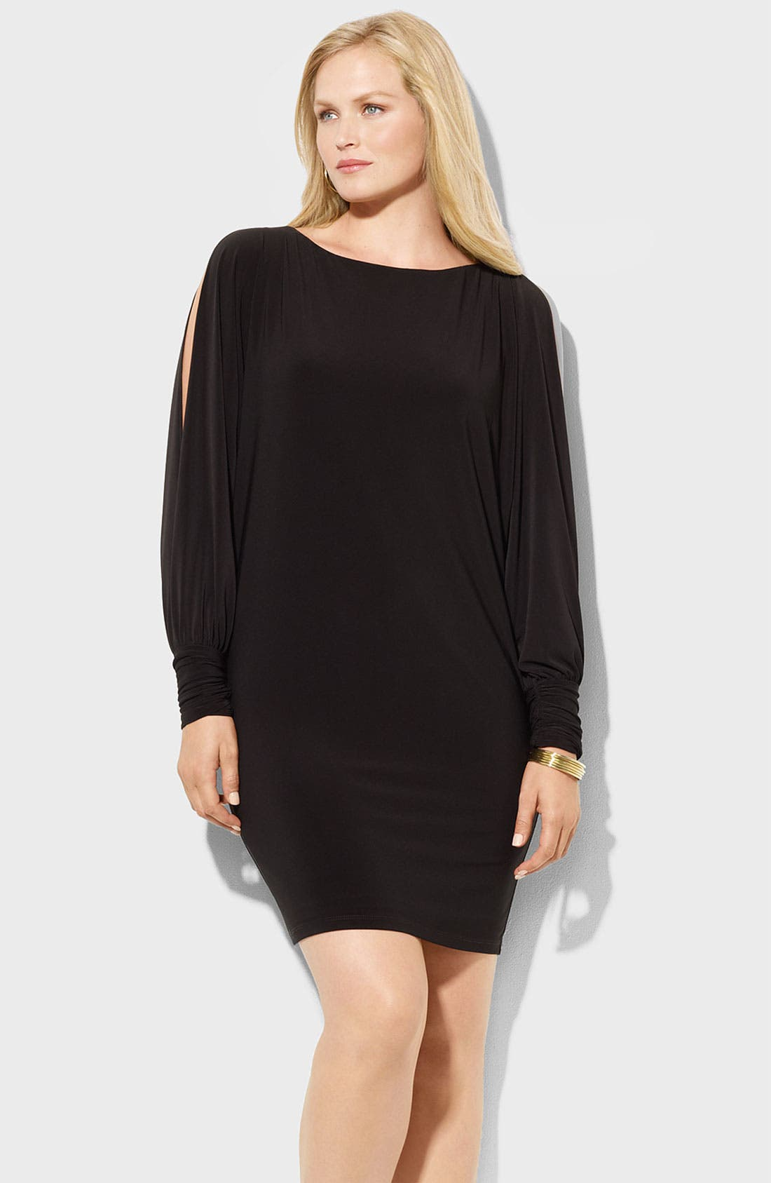 Main Image - Lauren Ralph Lauren Split Sleeve Matte Jersey Shift Dress (Plus)
