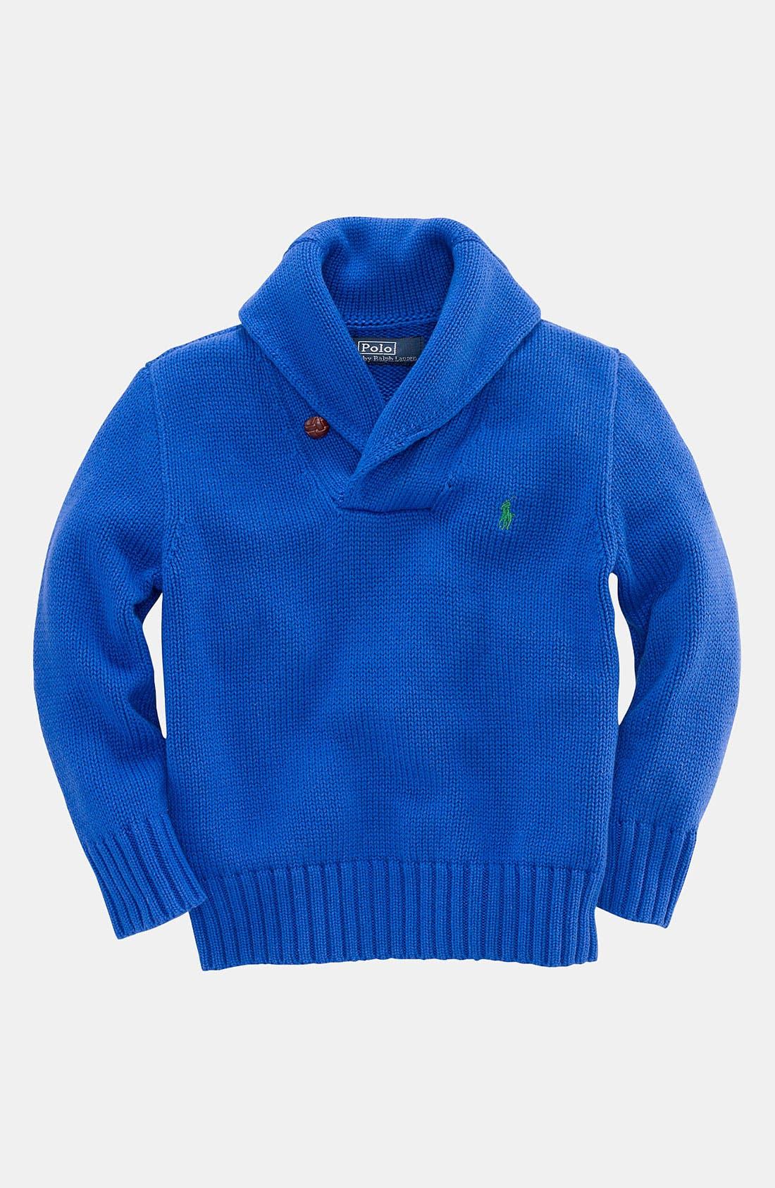 Alternate Image 1 Selected - Ralph Lauren Shawl Collar Sweater (Toddler)