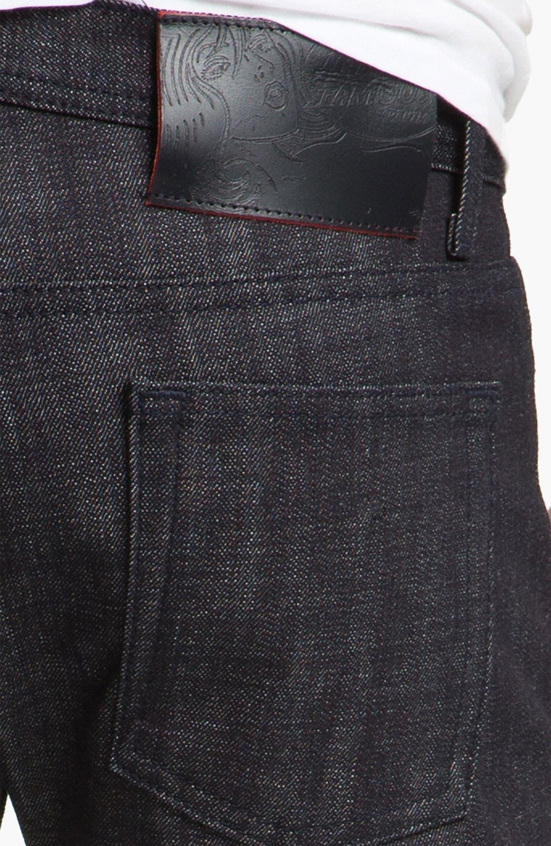 Alternate Image 4  - Naked & Famous Denim 'Weird Guy' Slim Tapered Leg Red Core Selvedge Jeans (Indigo)