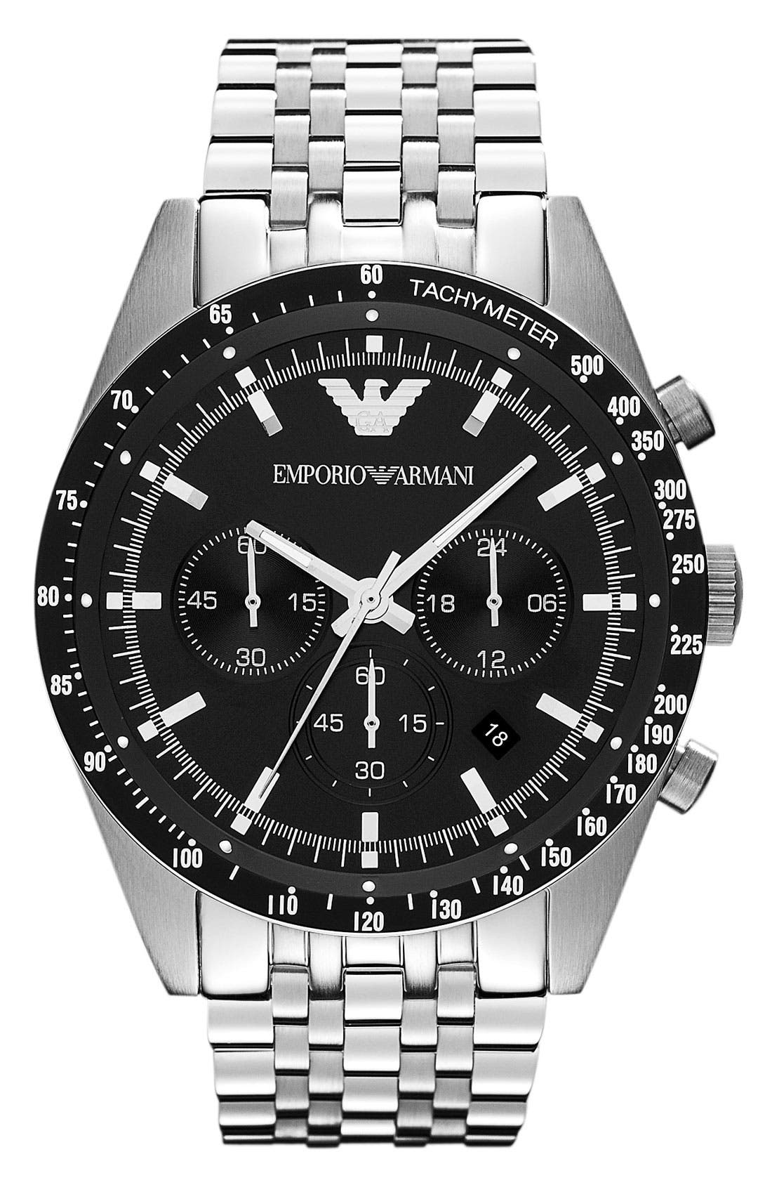 Alternate Image 1 Selected - Emporio Armani Chronograph Bracelet Watch, 46mm