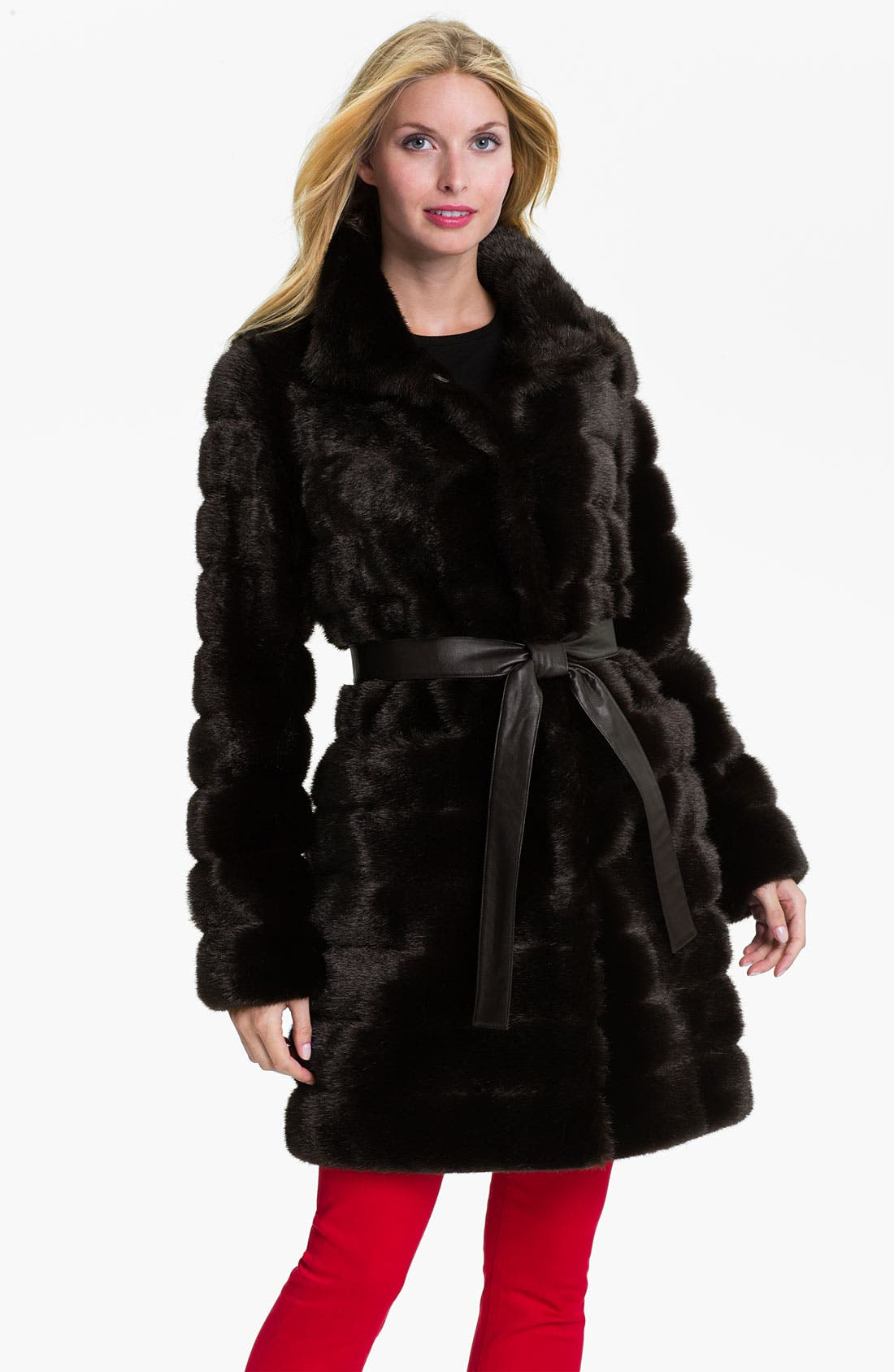 Main Image - Kristen Blake Belted Faux Fur Coat (Online Exclusive)