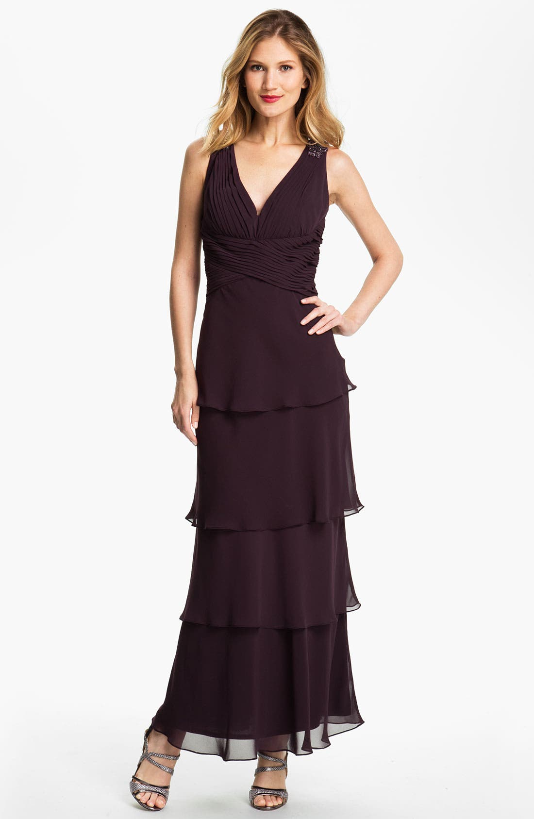Alternate Image 1  - Alex Evenings Tiered Chiffon Gown