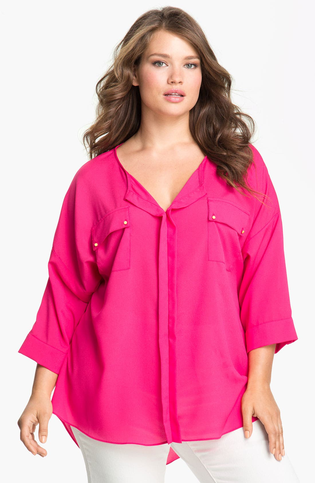 Alternate Image 1 Selected - Tbags Los Angeles Patch Pocket Blouse (Plus)