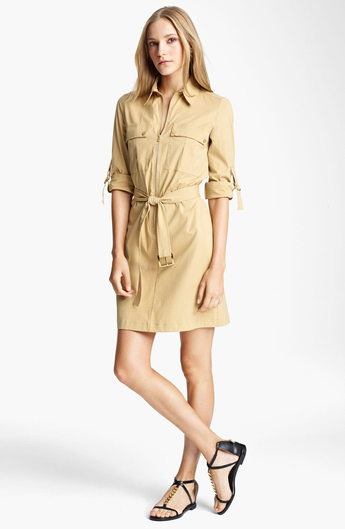Main Image - Michael Kors Stretch Poplin Shirtdress