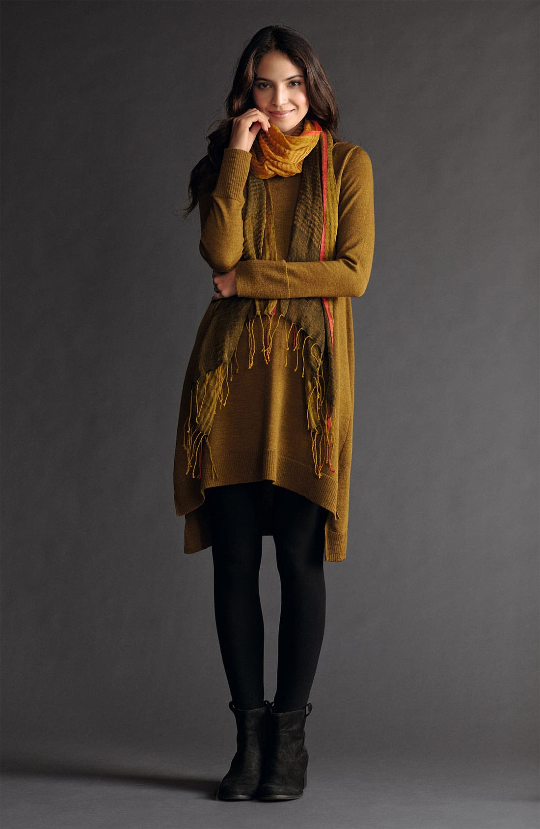 Main Image - Eileen Fisher Tunic Dress, Leggings & Scarf