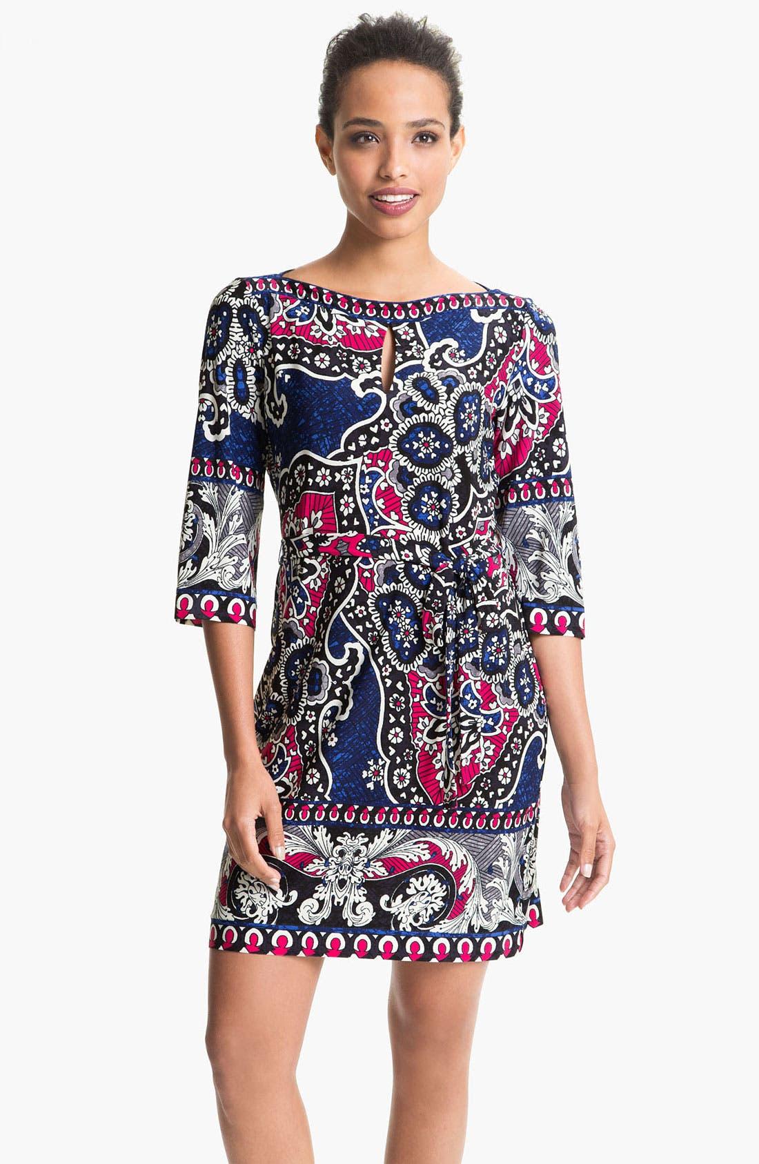 Main Image - Donna Morgan Printed Bateau Neck Jersey Shift Dress