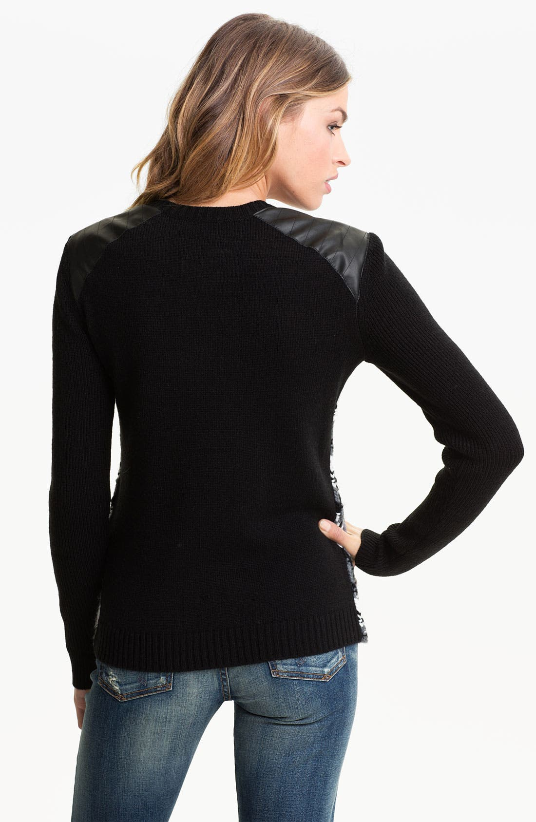 Alternate Image 2  - Trouvé Fair Isle Leather Shoulder Sweater