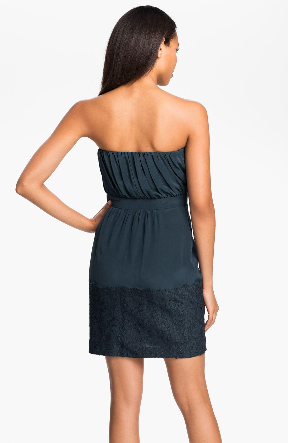 Alternate Image 2  - Shoshanna Strapless Chantilly Lace Trim Silk Dress