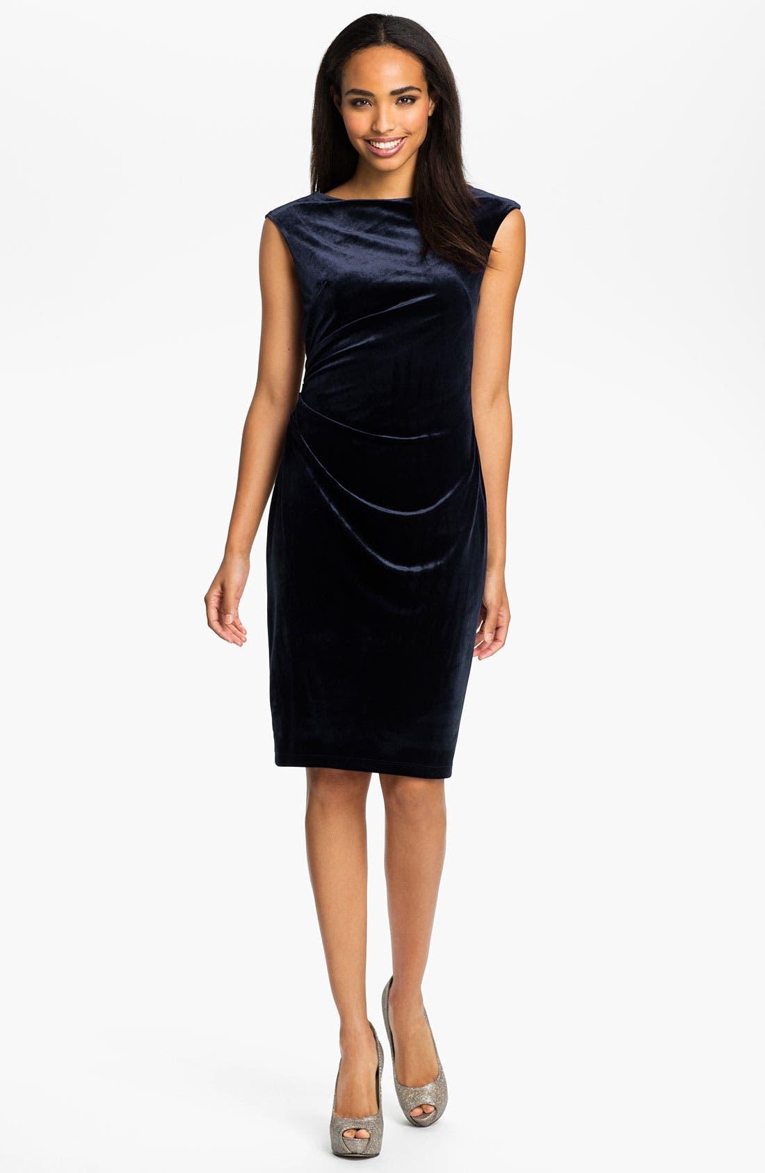 Alternate Image 1 Selected - David Meister Back Cutout Velvet Sheath Dress